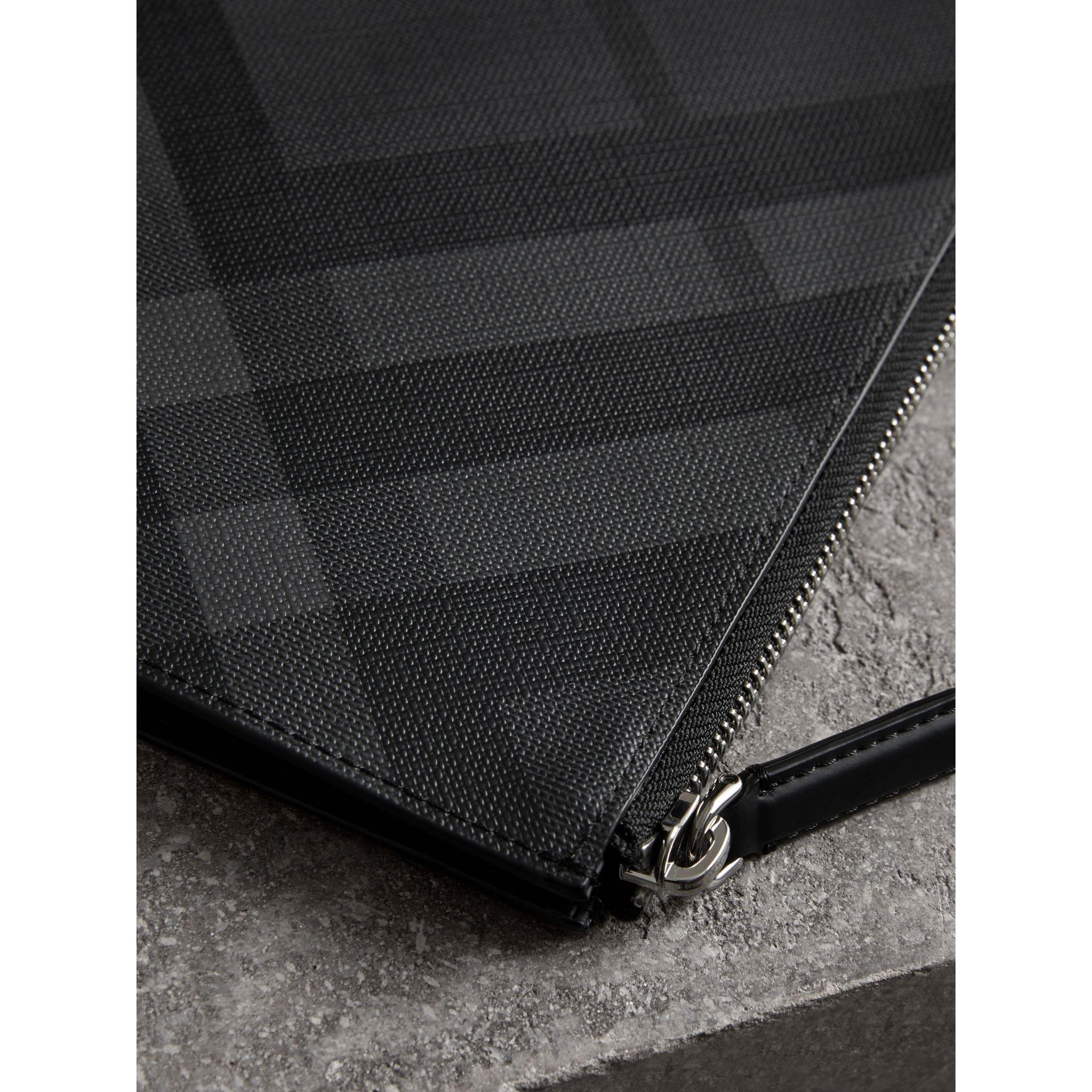 5dc095451afd Lyst - Burberry London Check Zip Pouch in Black for Men