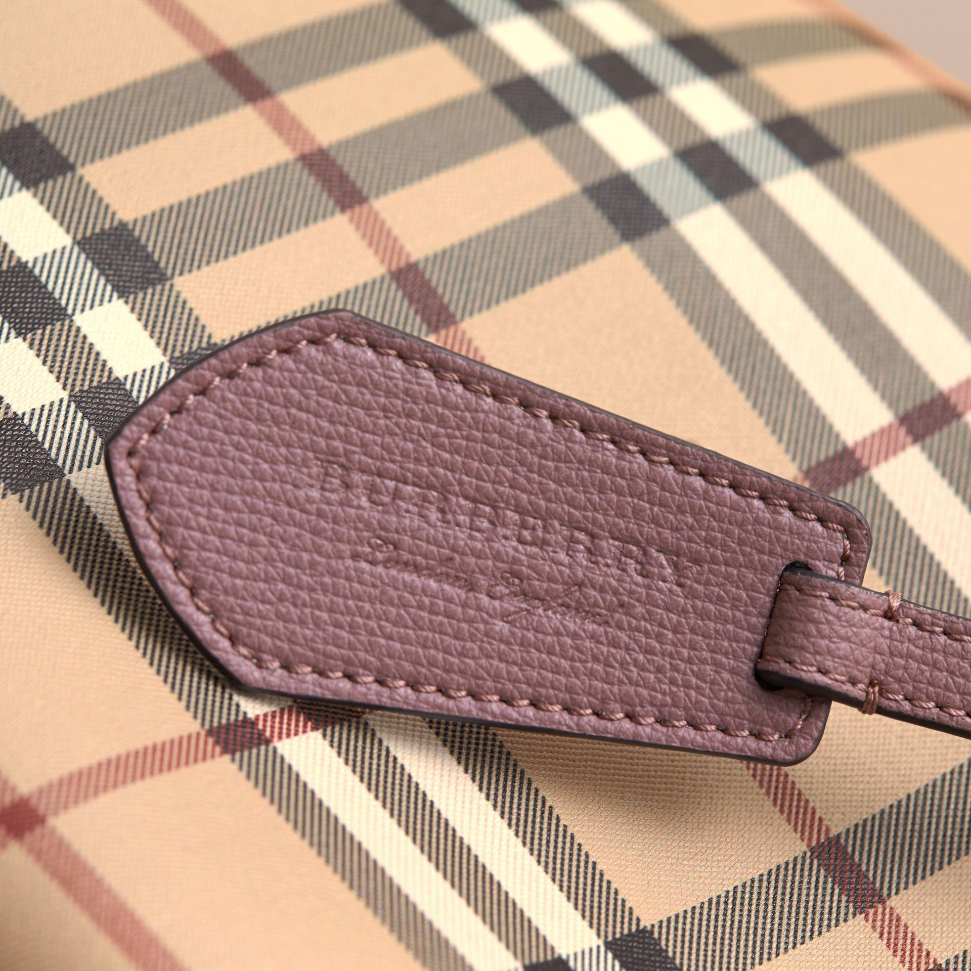 e40021f7b20a Lyst - Burberry Leather And Haymarket Check Crossbody Bucket Bag ...