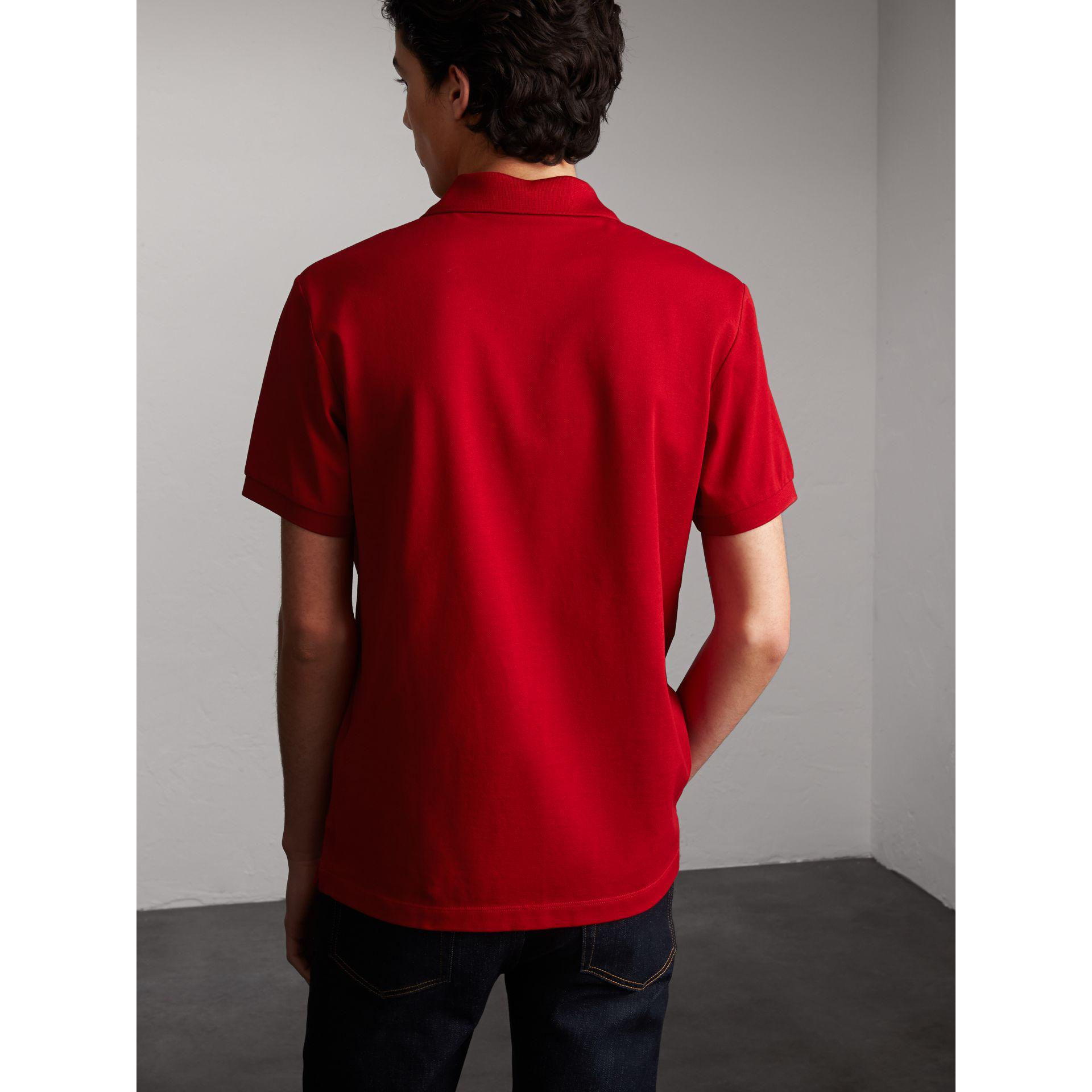 29eeb37d7349 Burberry Striped Placket Cotton Piqué Polo Shirt Military Red in Red ...