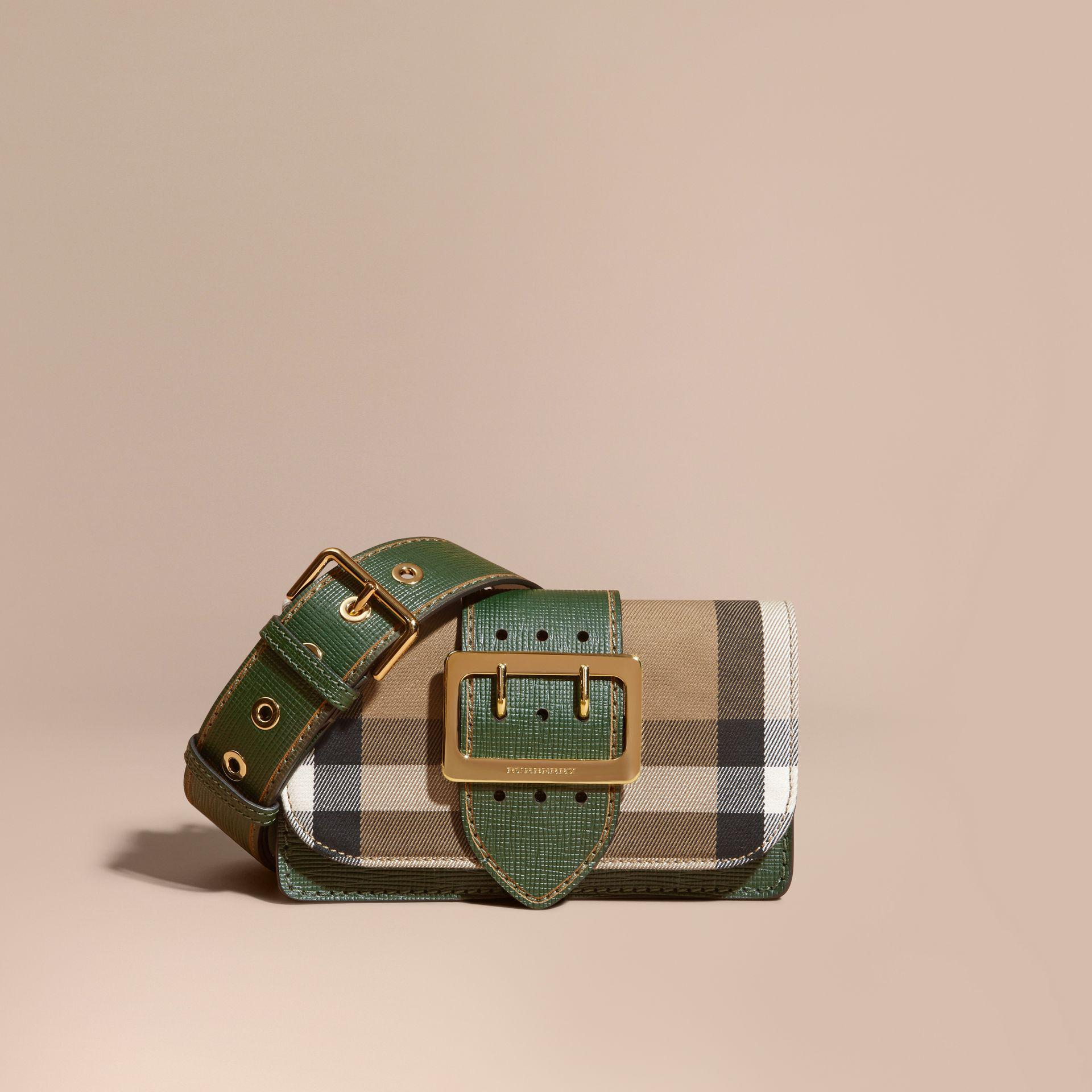 70c060d1132 Burberry Small Buckle House Check And Leather Shoulder Bag in Green ...