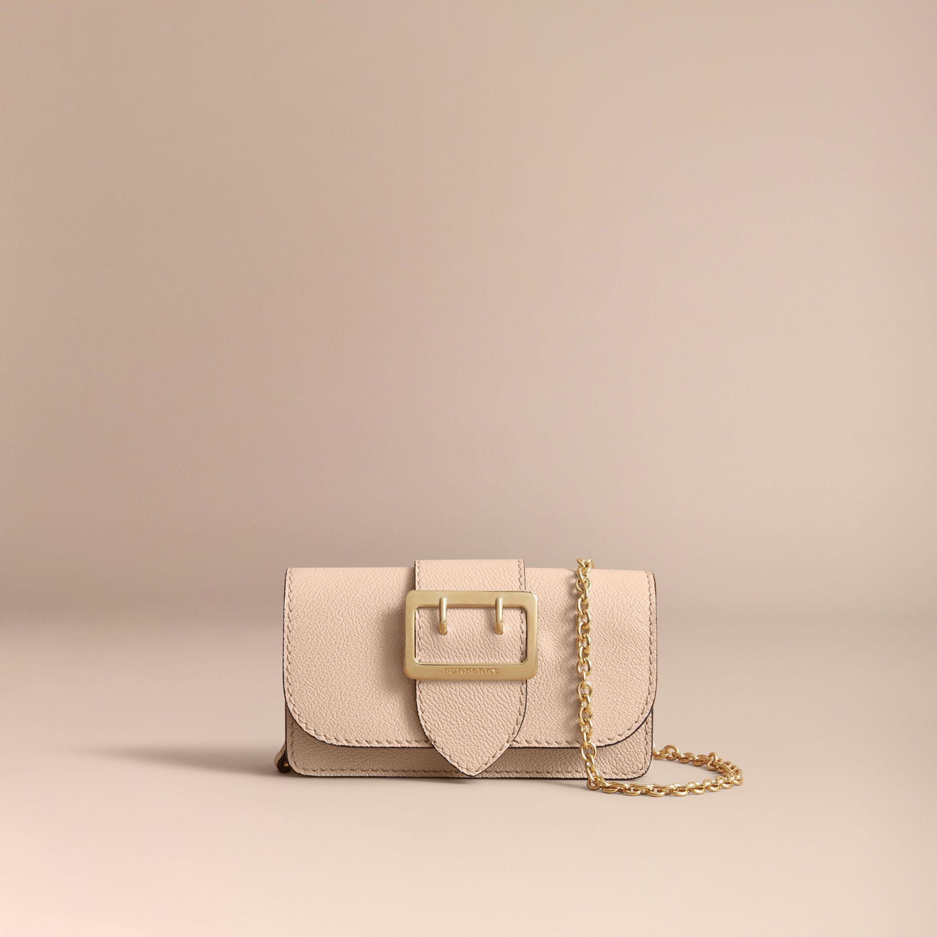 1d2b1081de Burberry The Mini Buckle Bag In Grainy Leather Limestone - Lyst