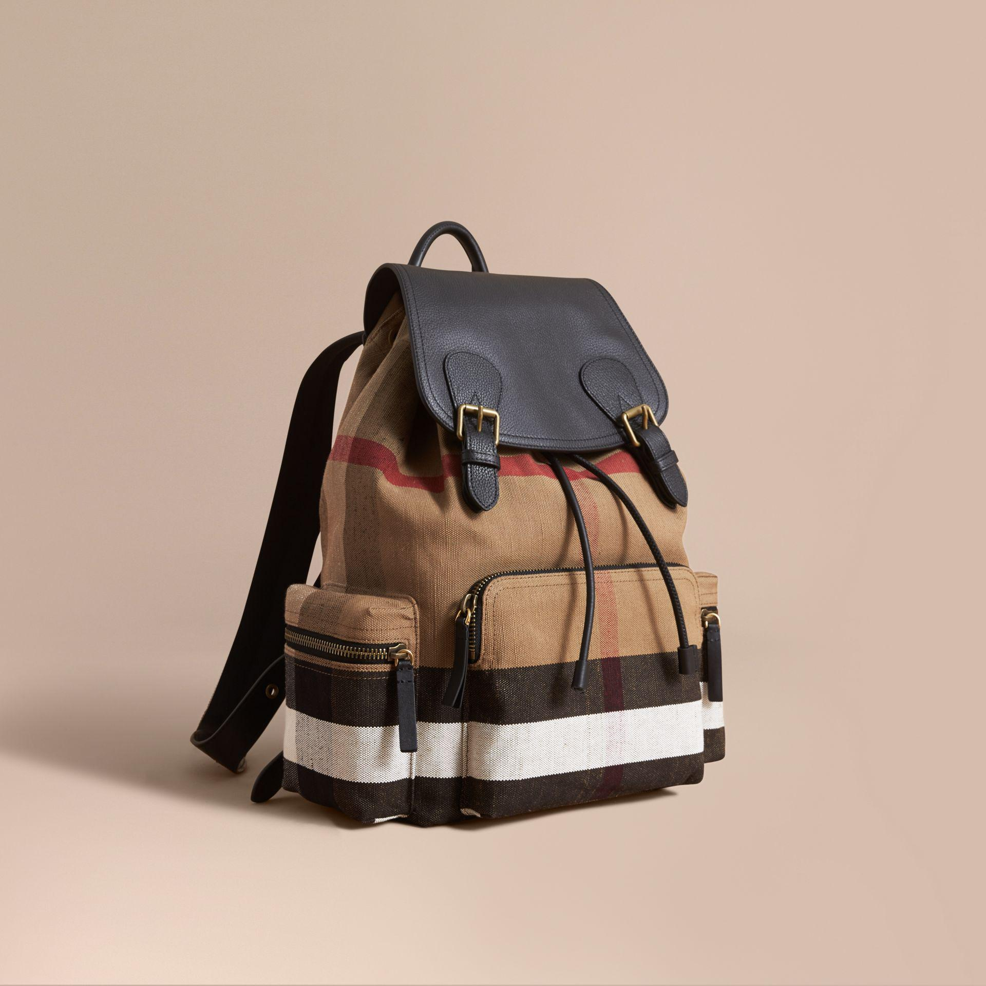 Sale Low Shipping Fee Low Shipping Cheap Online Burberry Large Rucksack in Canvas Check and Leather Clearance Best Place Free Shipping Comfortable Buy Cheap Choice tYnEMhD
