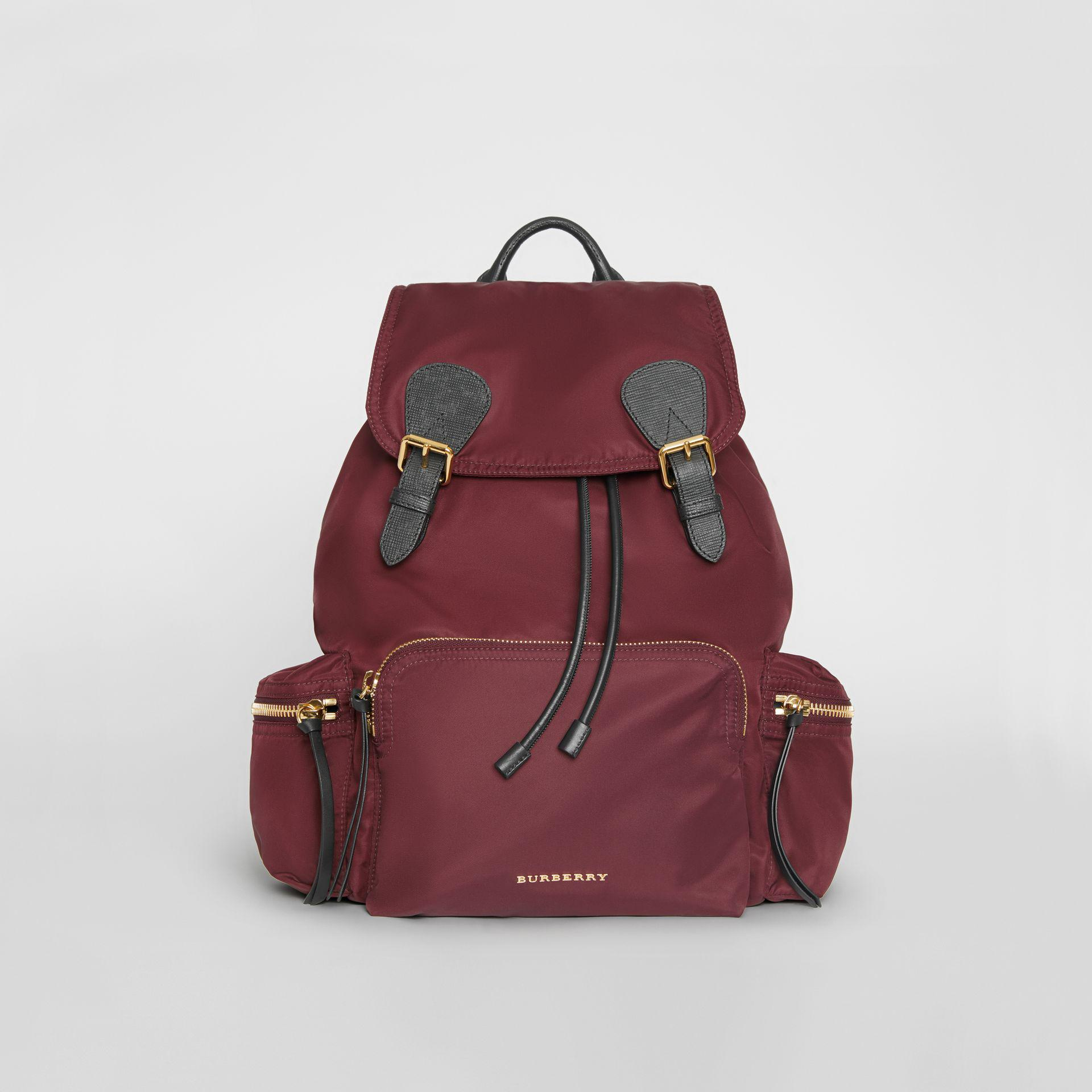 373a0f5ee9ae Burberry - Purple The Large Rucksack In Technical Nylon And Leather  Burgundy Red - Lyst. View fullscreen
