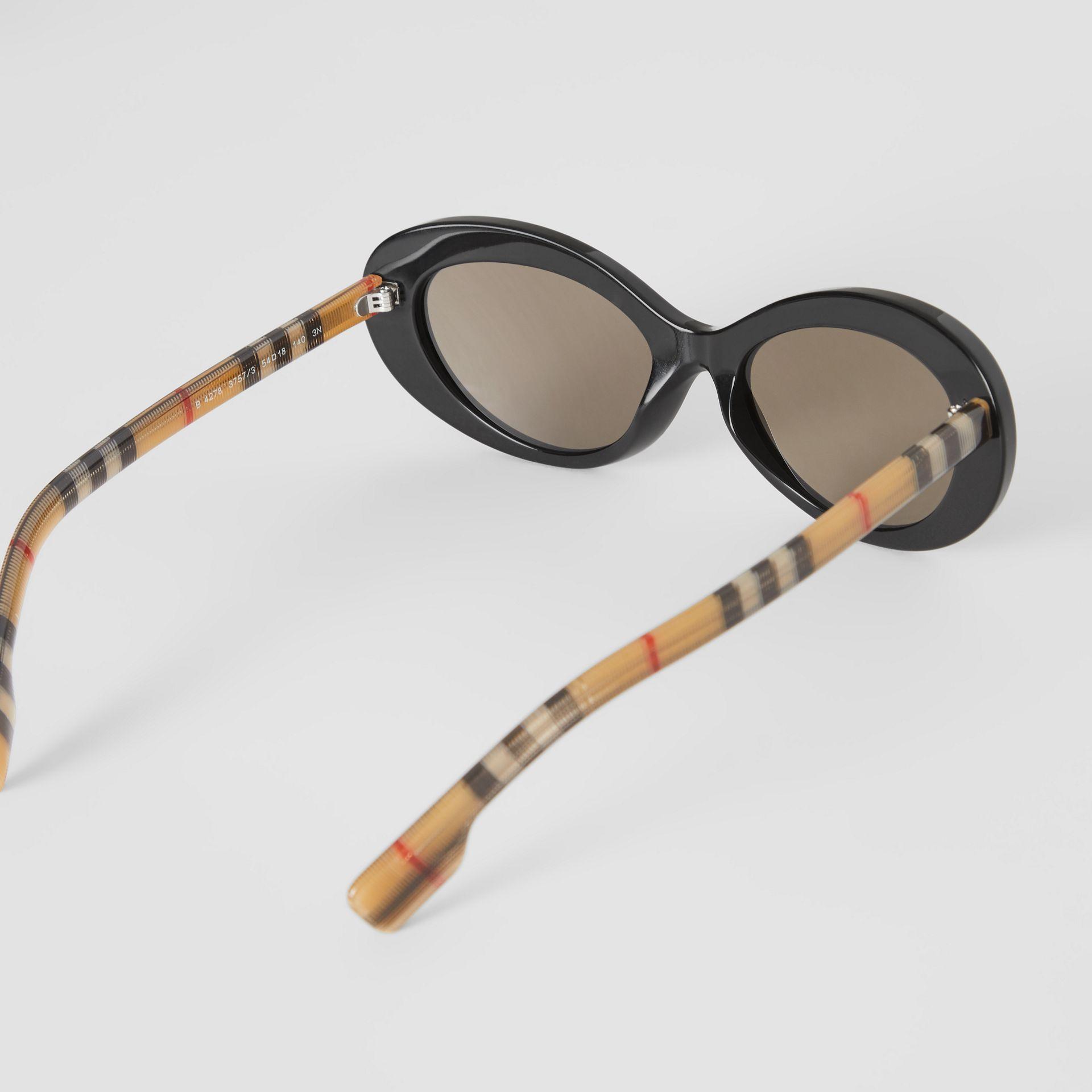5e61e8e8de59 Burberry Vintage Check Detail Cat-eye Frame Sunglasses in Black - Lyst