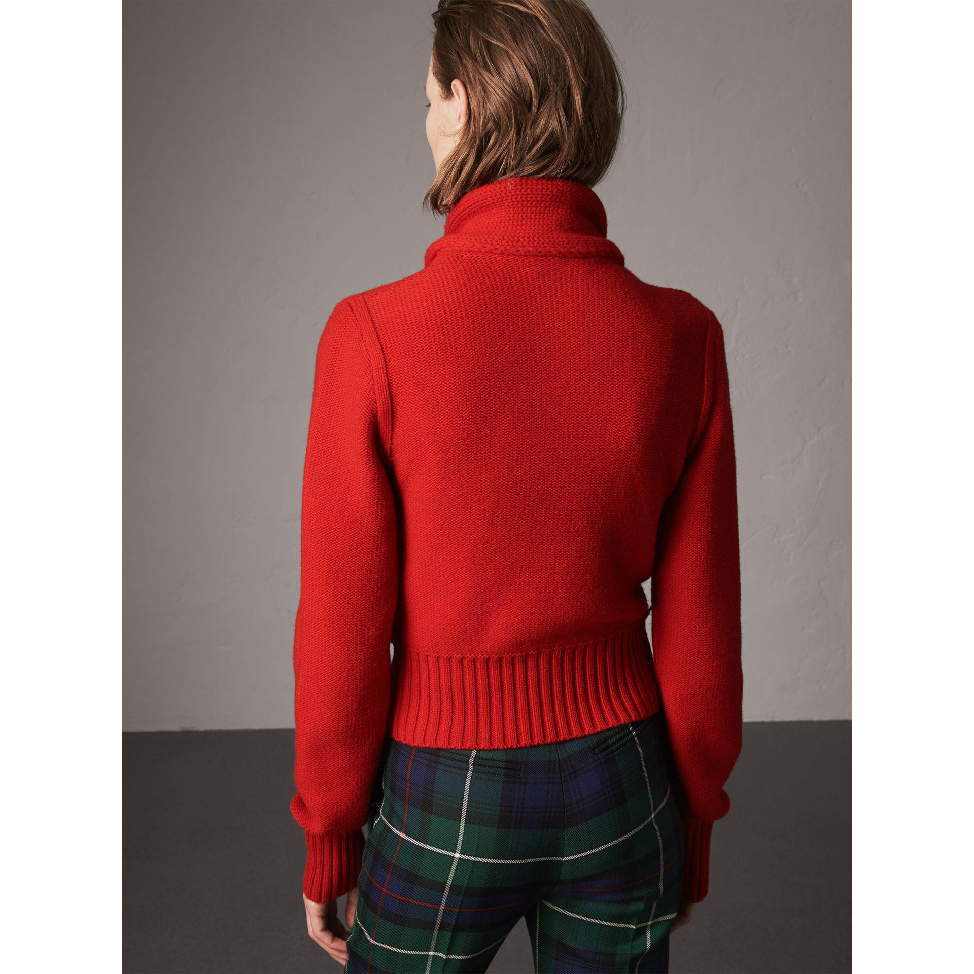Burberry Cashmere Tie-neck Sweater in Red | Lyst