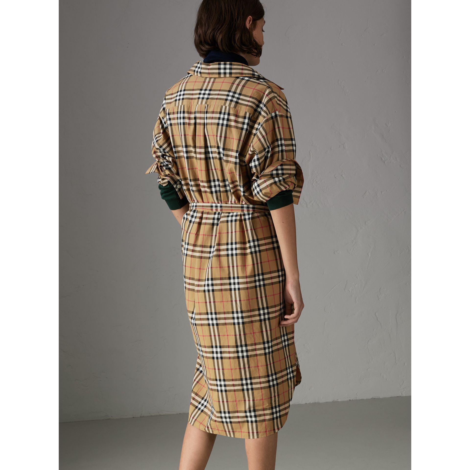 Lyst - Burberry Tie-waist Vintage Check Cotton Shirt Dress 41f9bae2cb2