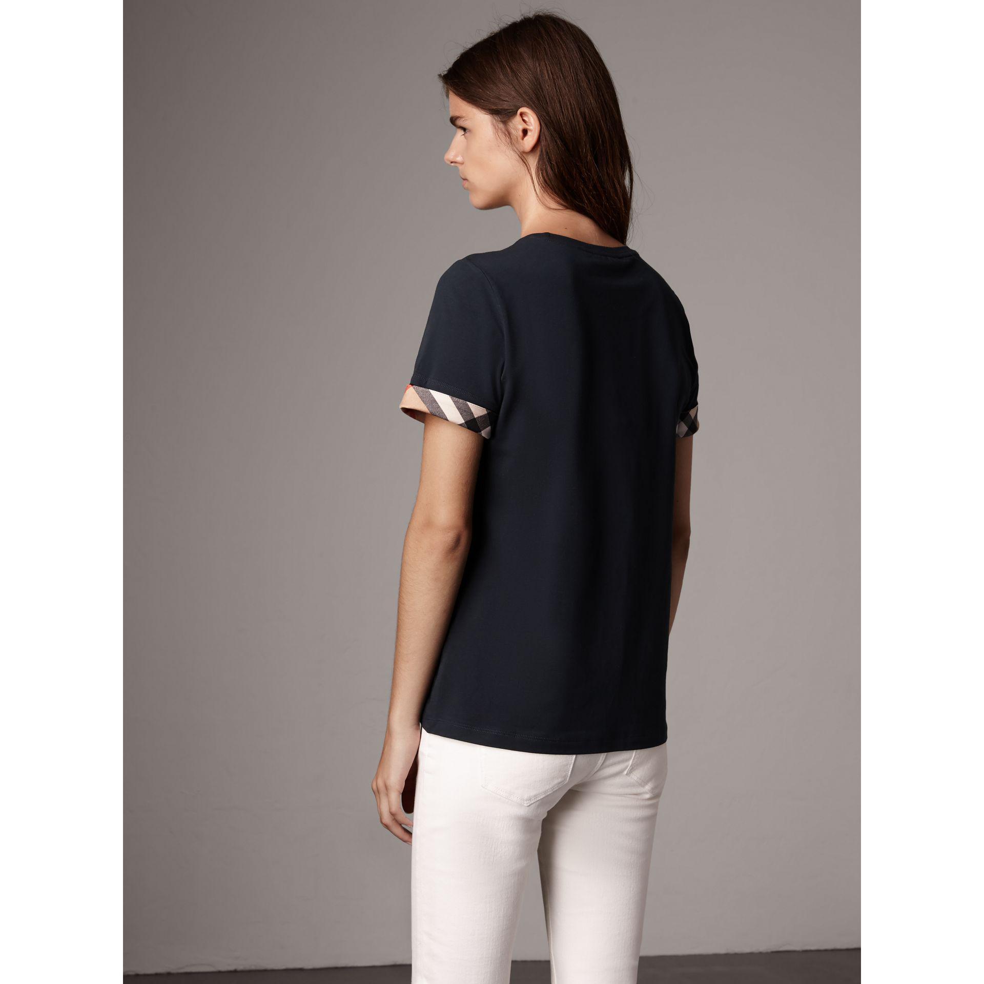 3479abdb9190 Lyst Burberry Check Cuff Stretch Cotton T Shirt Navy In Blue