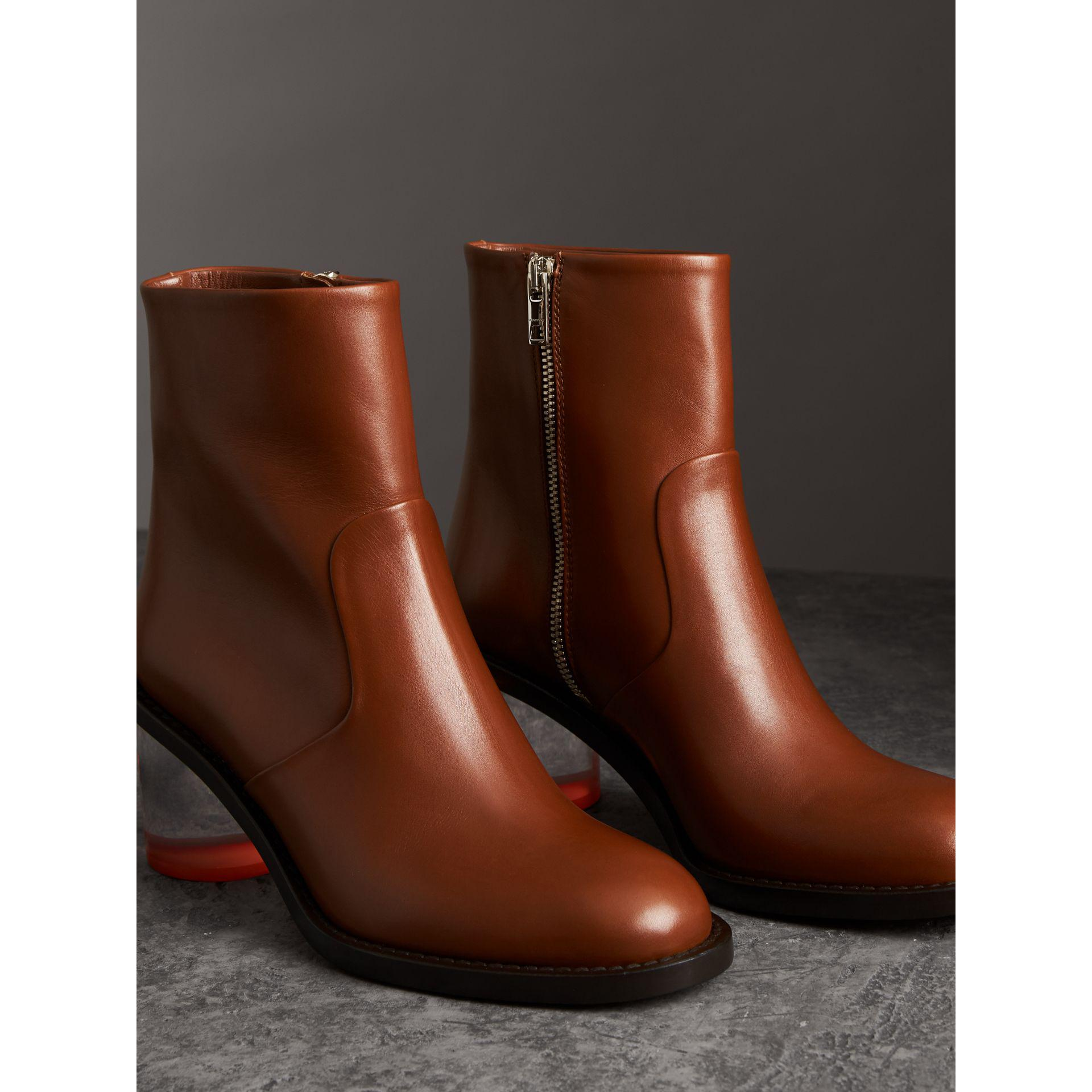 513610a96f48 Lyst - Burberry Two-tone Leather Block-heel Boots in Brown