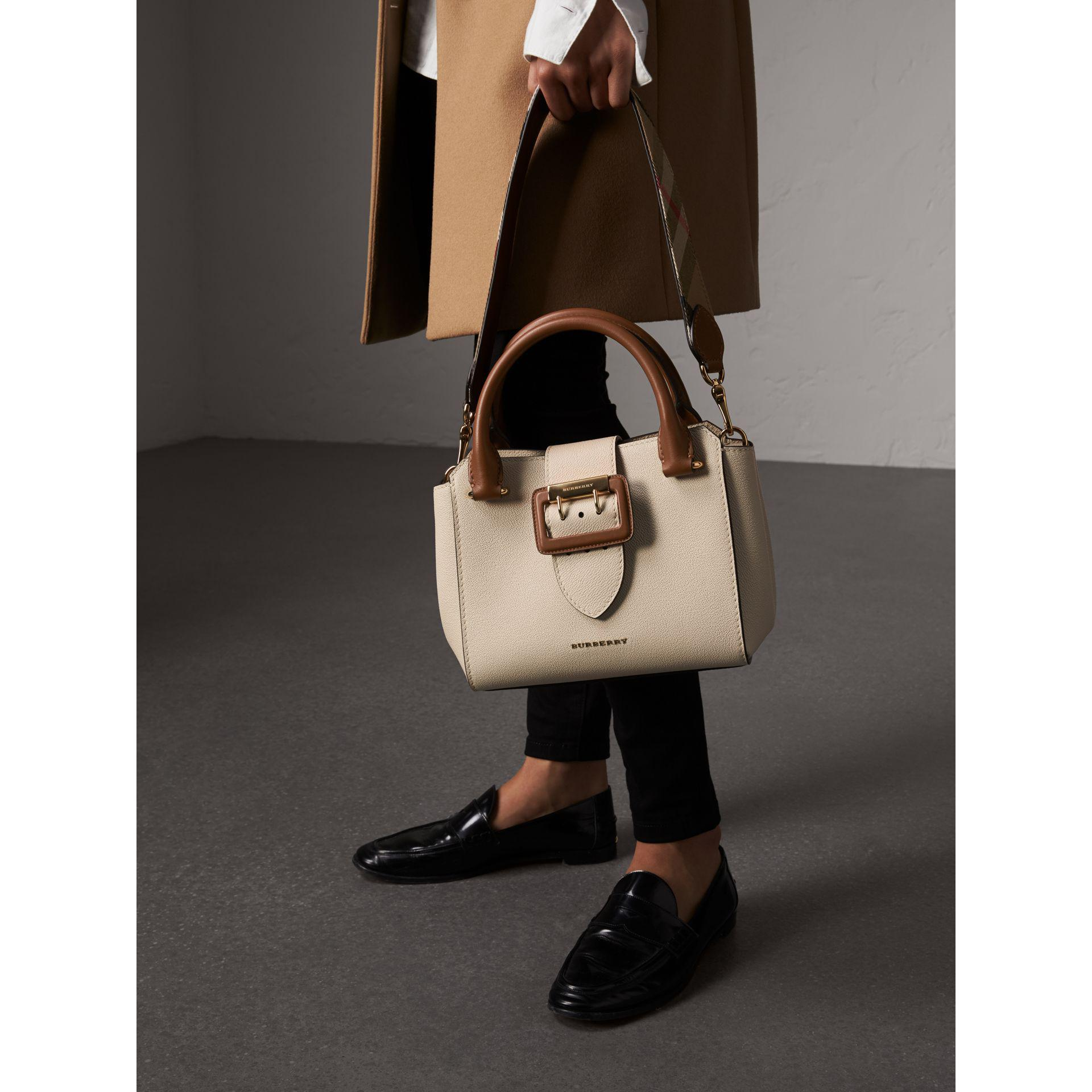 2067e3544f49 Lyst - Burberry The Small Buckle Tote In Two-tone Leather - Women