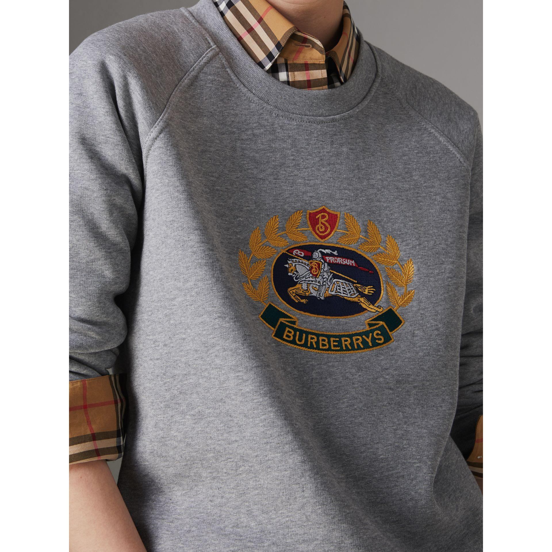 1e6ff94849b Lyst - Burberry Embroidered Archive Logo Jersey Sweatshirt in Gray