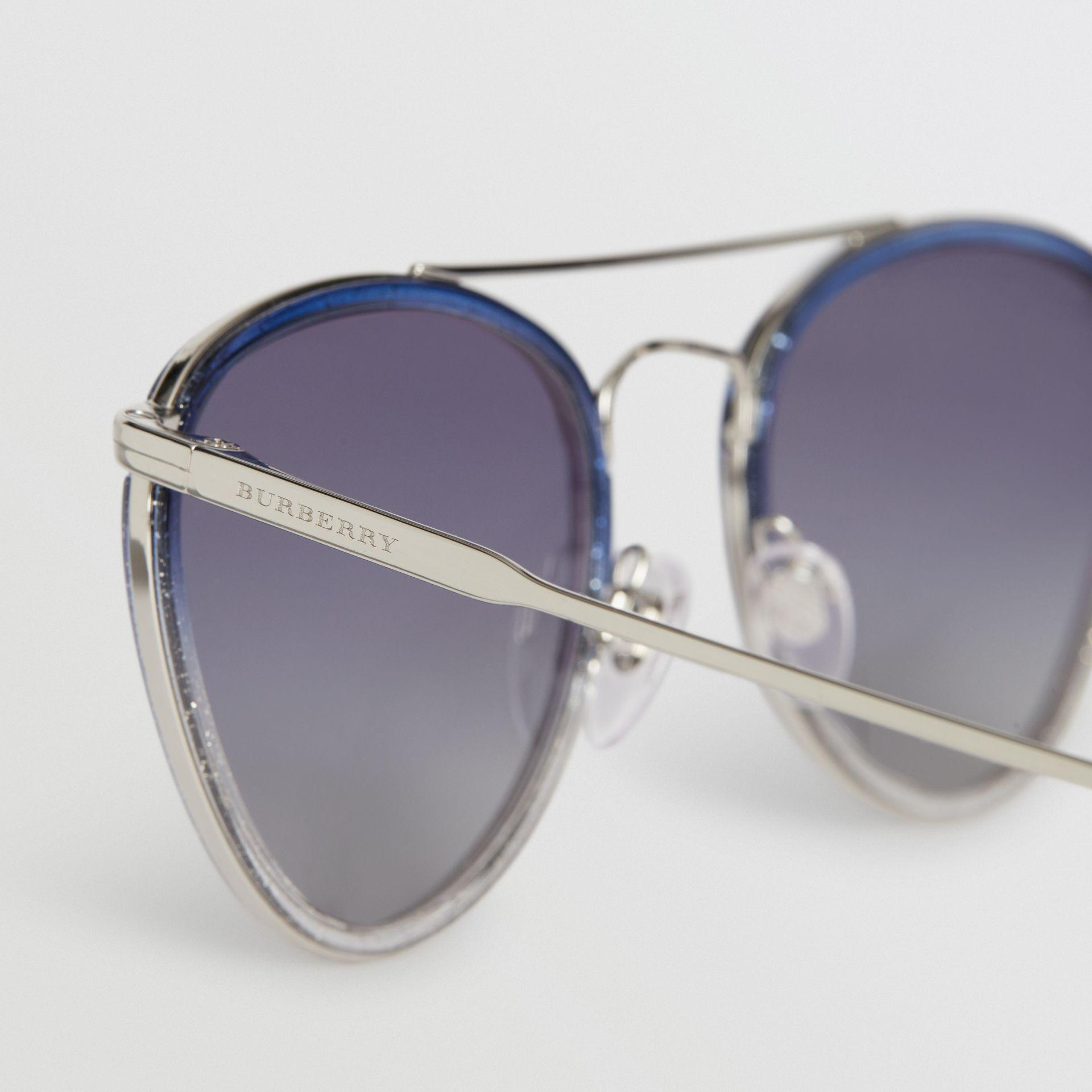 4d614f3ae21c63 Burberry - Blue Glitter Detail Pilot Sunglasses - Lyst. View fullscreen