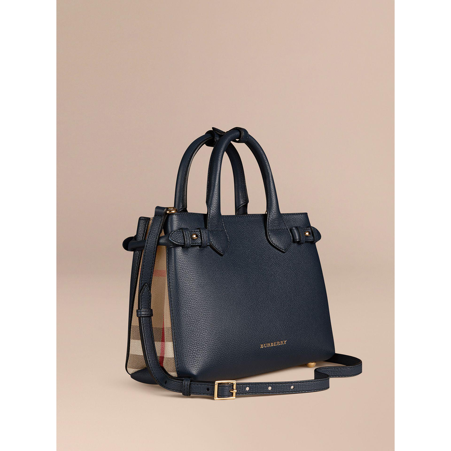 99b6df959e52 Burberry The Small Banner In Leather And House Check Ink Blue in ...