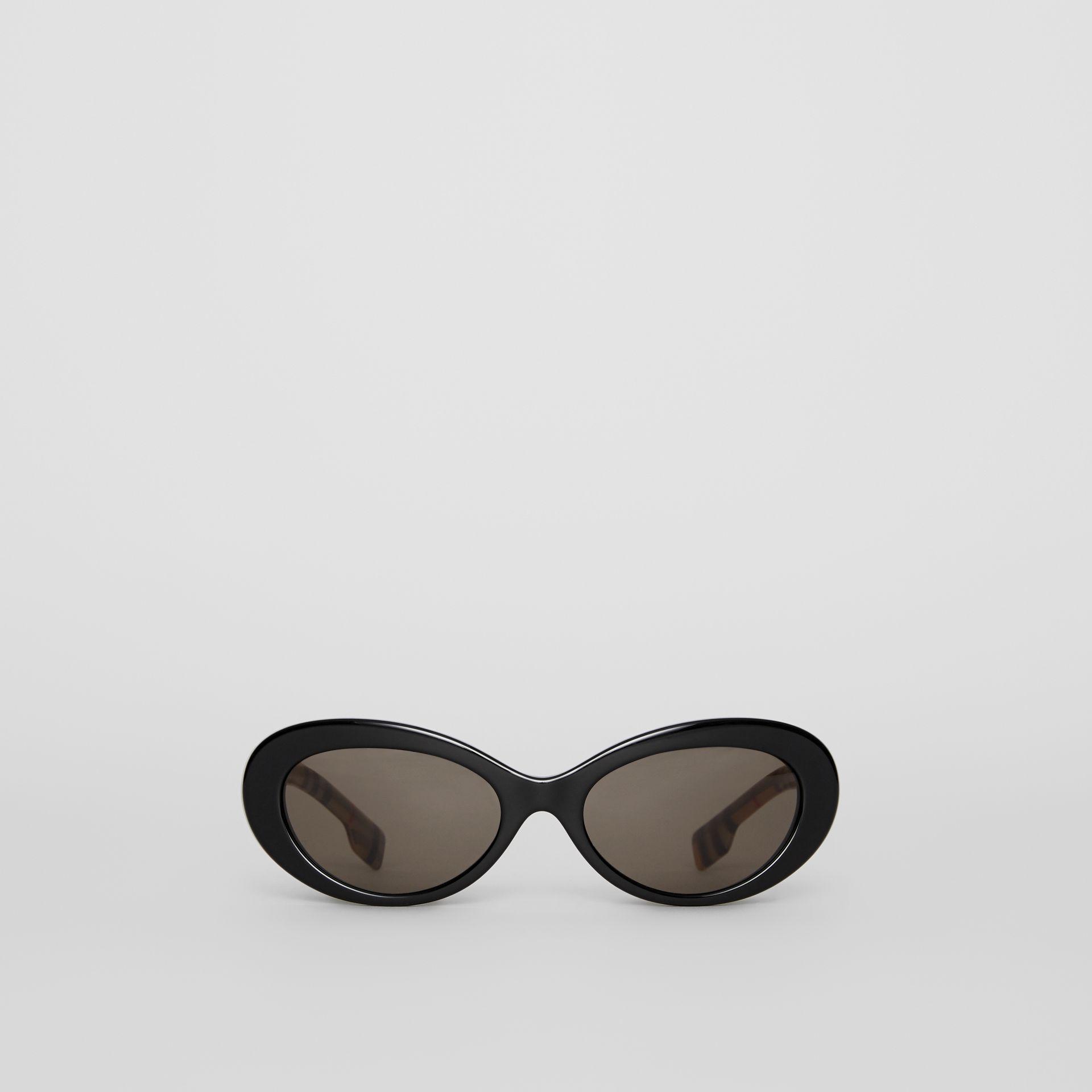 46804d2e4035 Lyst - Burberry Vintage Check Detail Cat-eye Frame Sunglasses in Black