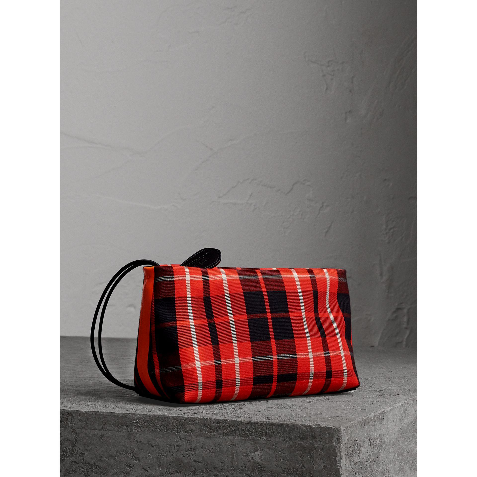 Tartan Cotton Clutch Bag in Ink Blue and Yellow Cotton Burberry