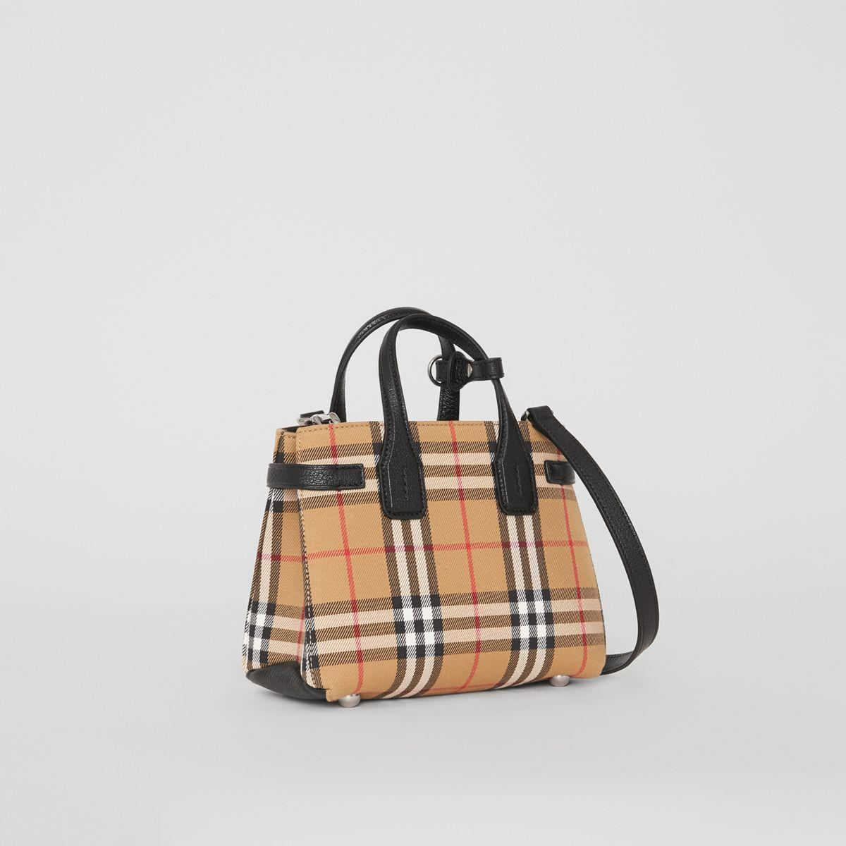 5858f7f8242 Lyst - Sac The Baby Banner en tissu Vintage check et cuir Burberry