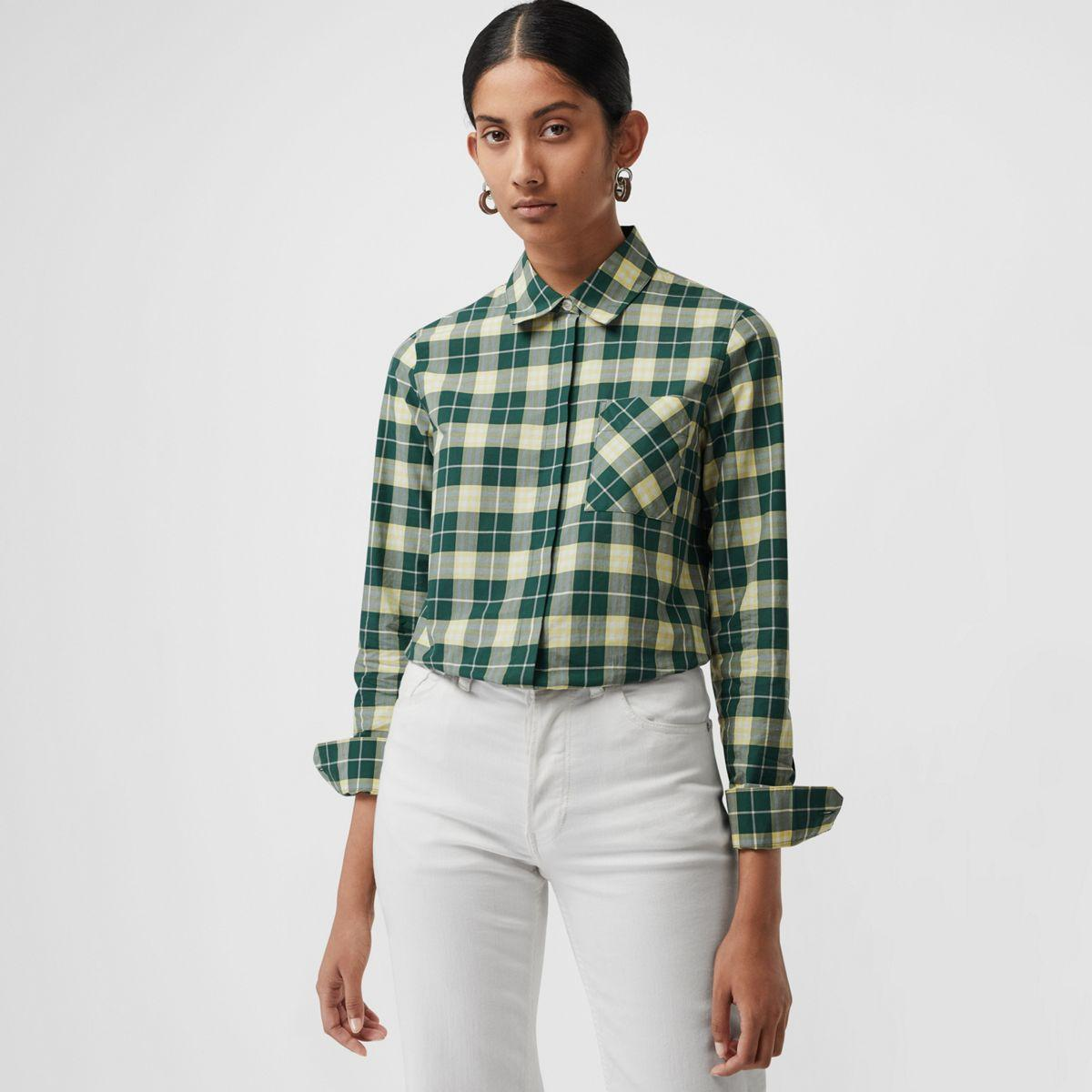 52736621e4f0ab Lyst - Burberry Check Cotton Shirt in Green - Save 29%
