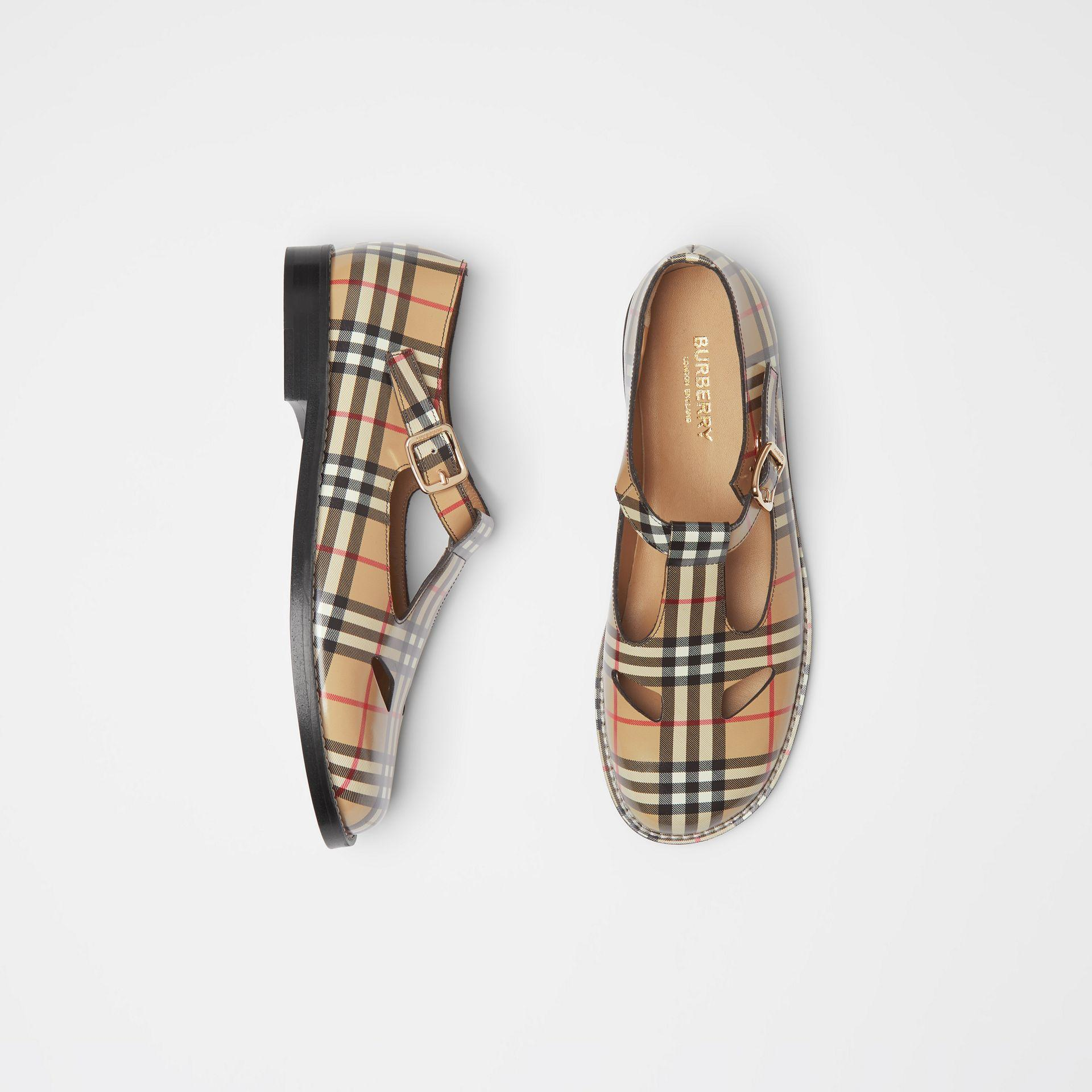 ab6b2a7b3a7 Lyst - Burberry Vintage Check Leather T-bar Shoes in Natural