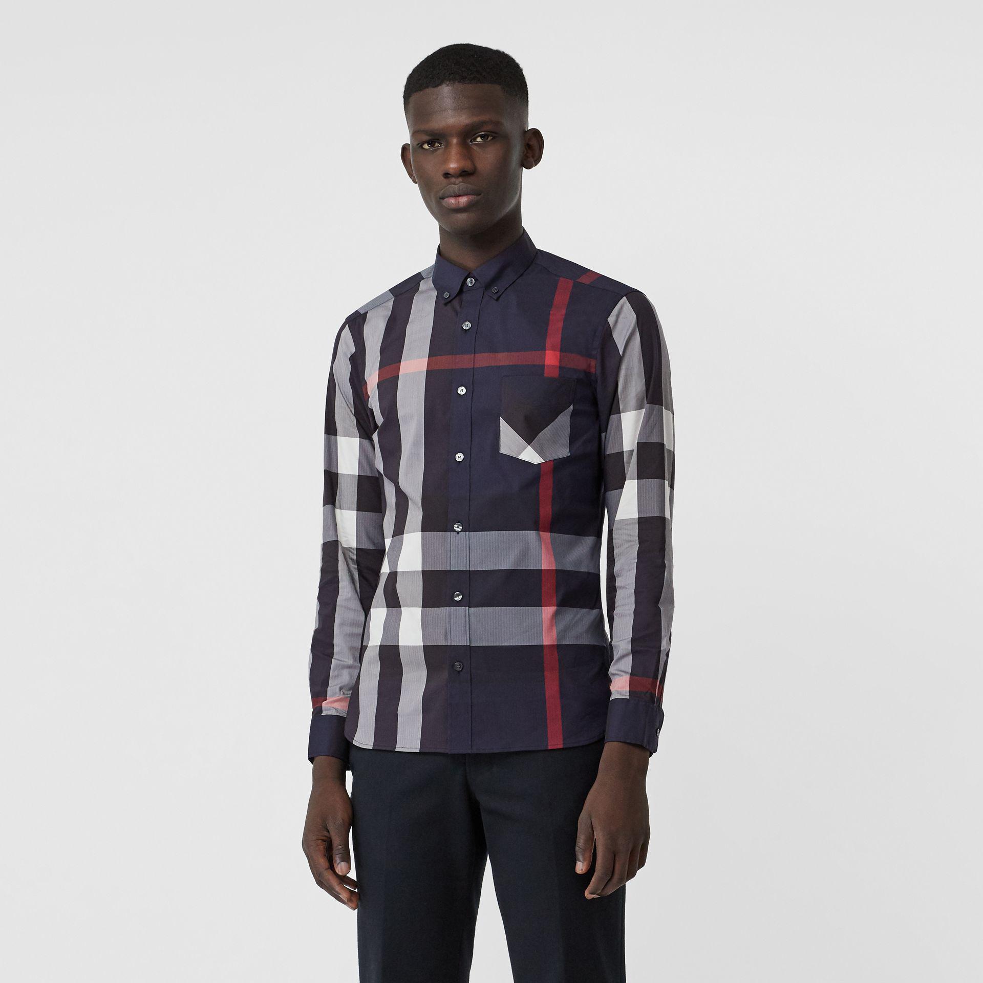 Lyst - Burberry Button-down Collar Check Stretch Cotton Blend Shirt ... 97272d794a6