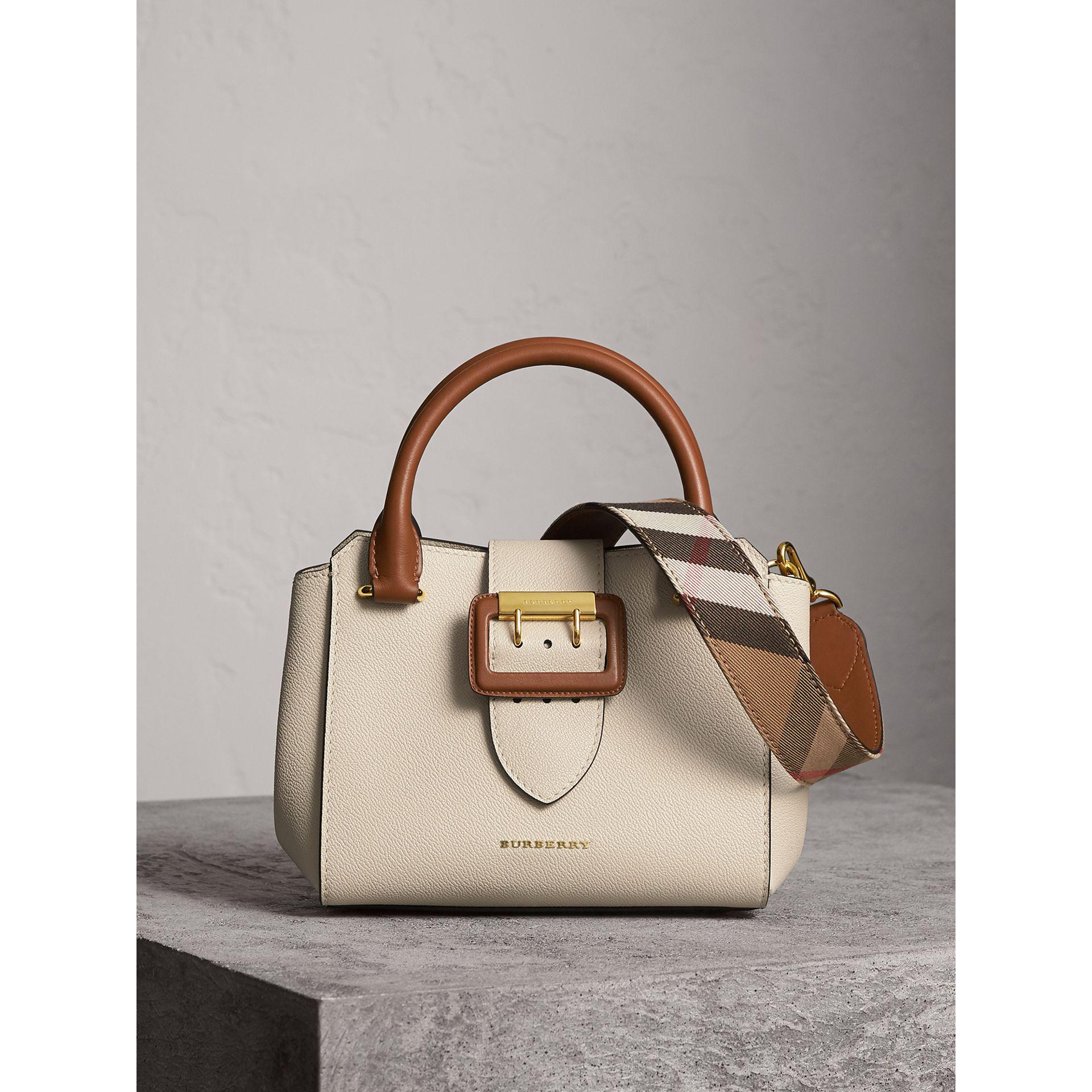 Lyst - Burberry The Small Buckle Tote In Two-tone Leather - Women  b0d9c878022d7