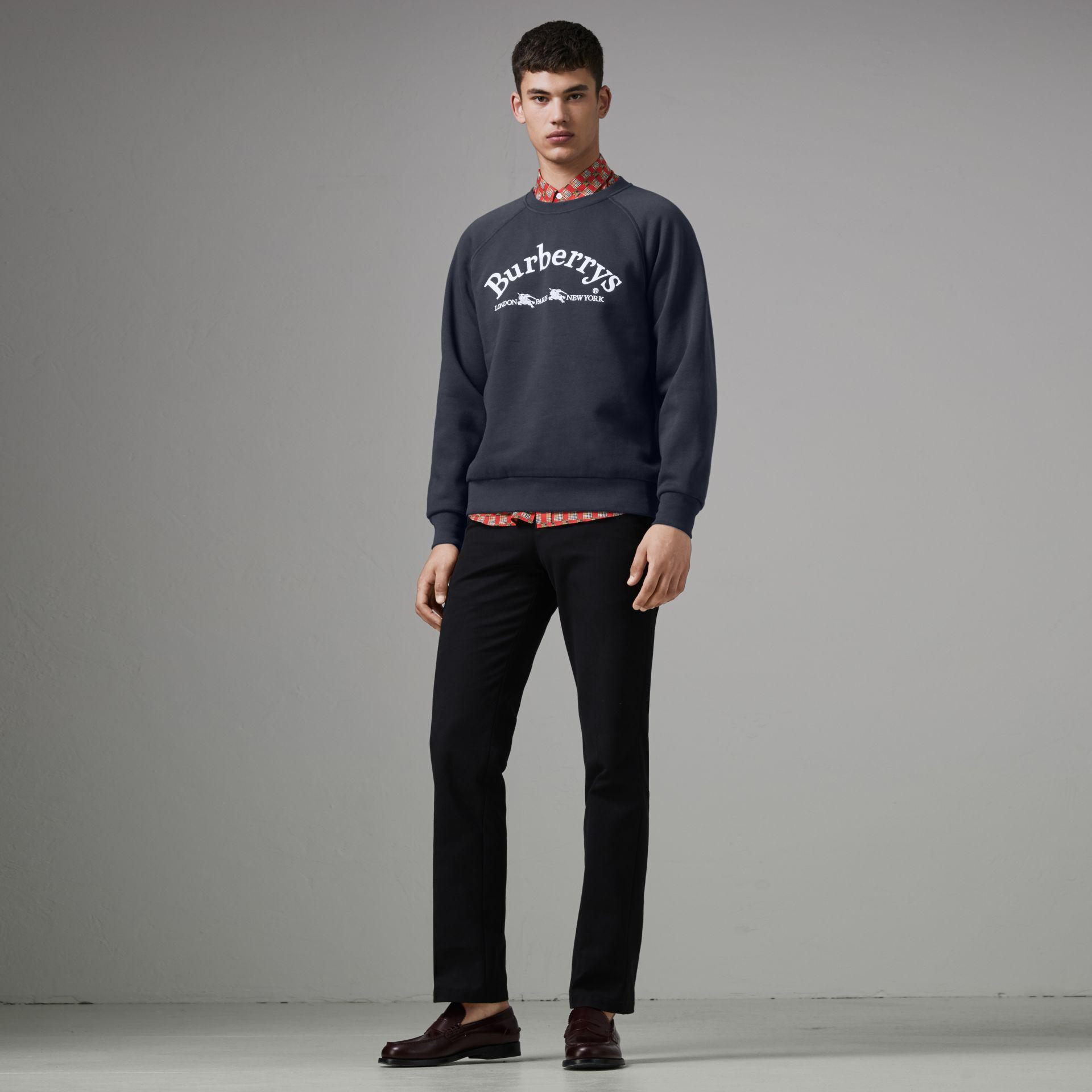 ee441e86727 Lyst - Burberry Embroidered Archive Logo Jersey Sweatshirt in Blue ...