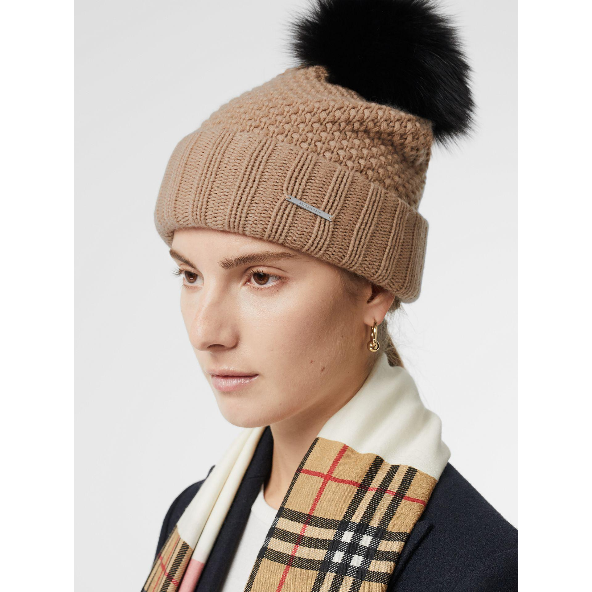 8b0da93950fd3 Burberry Fur Pom-pom Wool Cashmere Beanie in Natural - Lyst