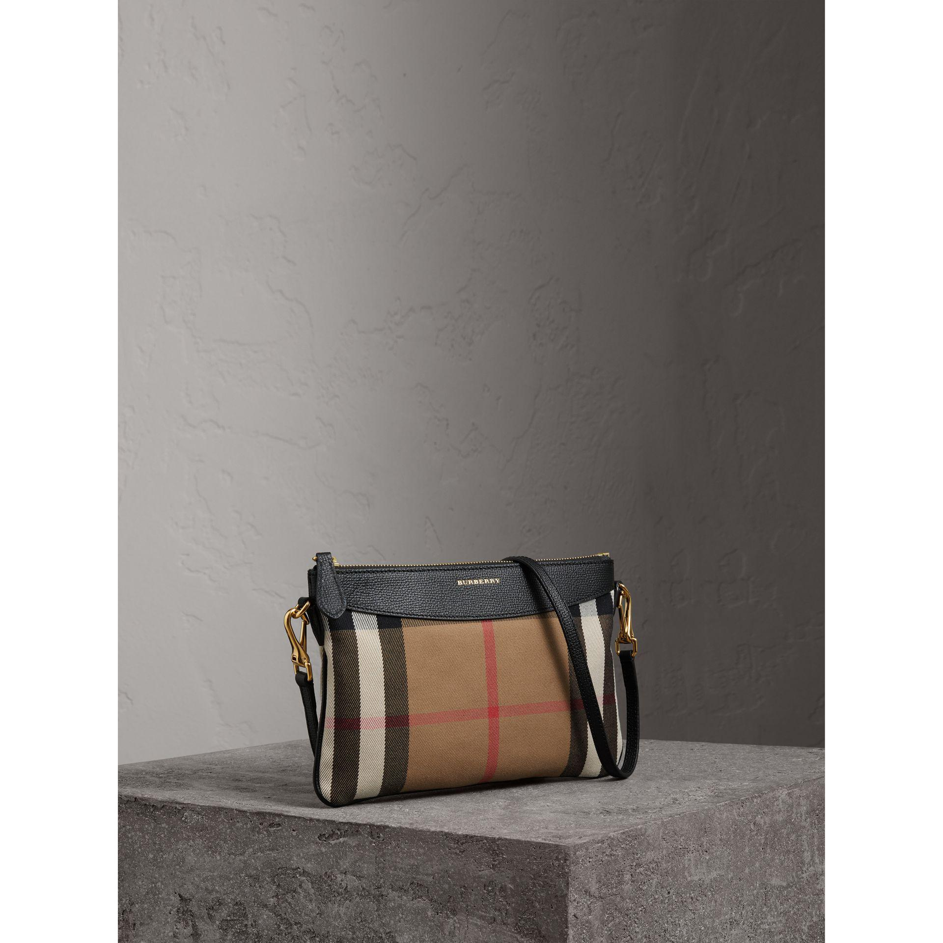 bab7bc17d166 Lyst - Burberry House Check And Leather Clutch Bag in Black