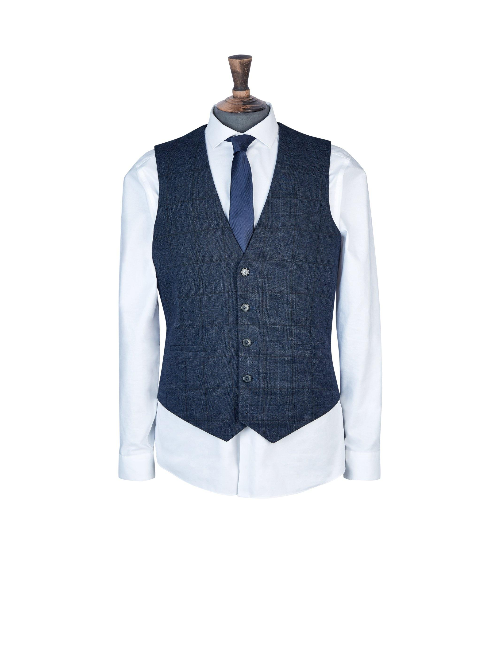 3003f9e3b2ada6 Burton Navy Jaspe Check Tailored Fit Waistcoat in Blue for Men - Lyst