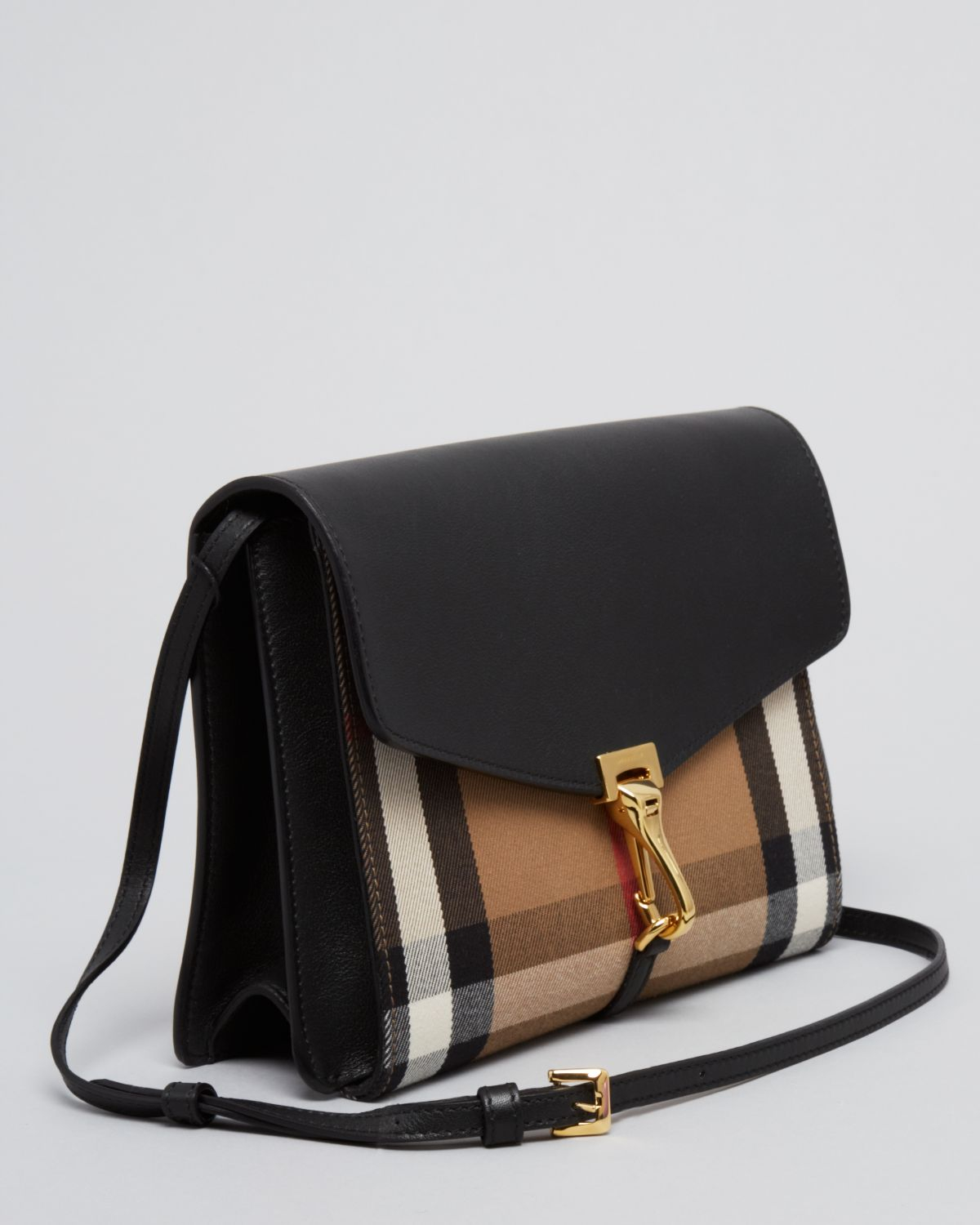 Lyst - Burberry Crossbody House Check Sartorial Small Macken in Black 1560f0cd4