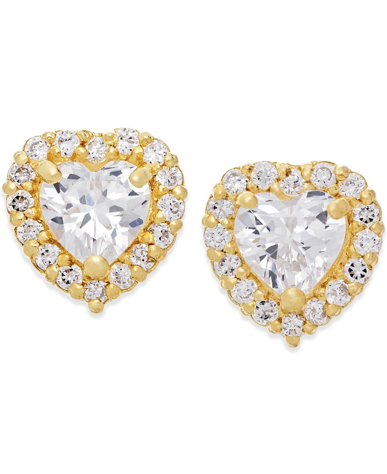macy s cubic zirconia stud earrings in 10k gold in