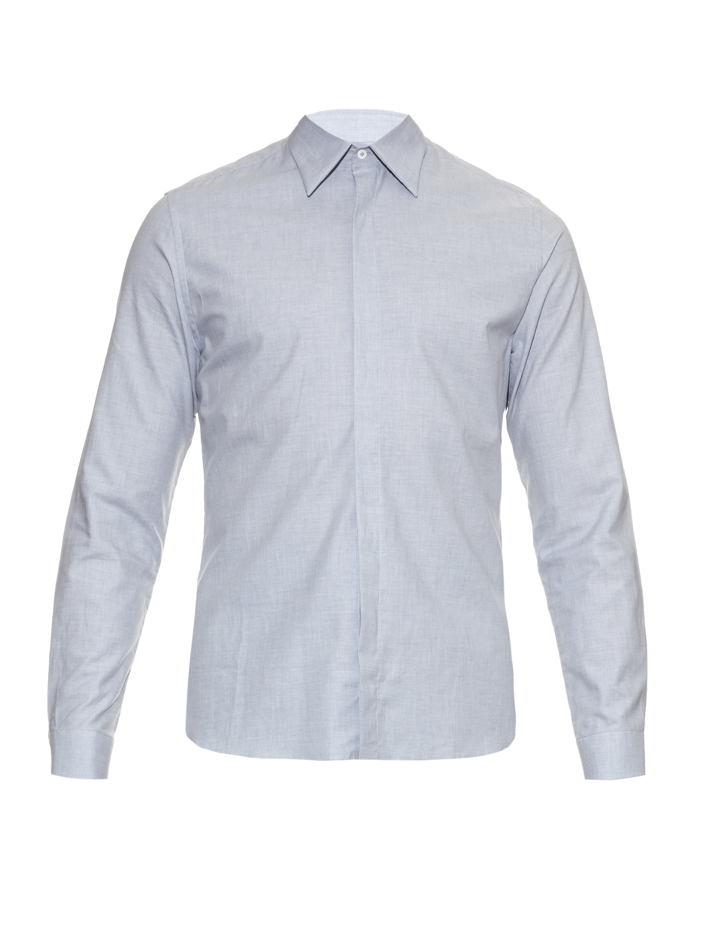 Mathieu jerome Hidden Button-down Collar Cotton Shirt in Gray for ...