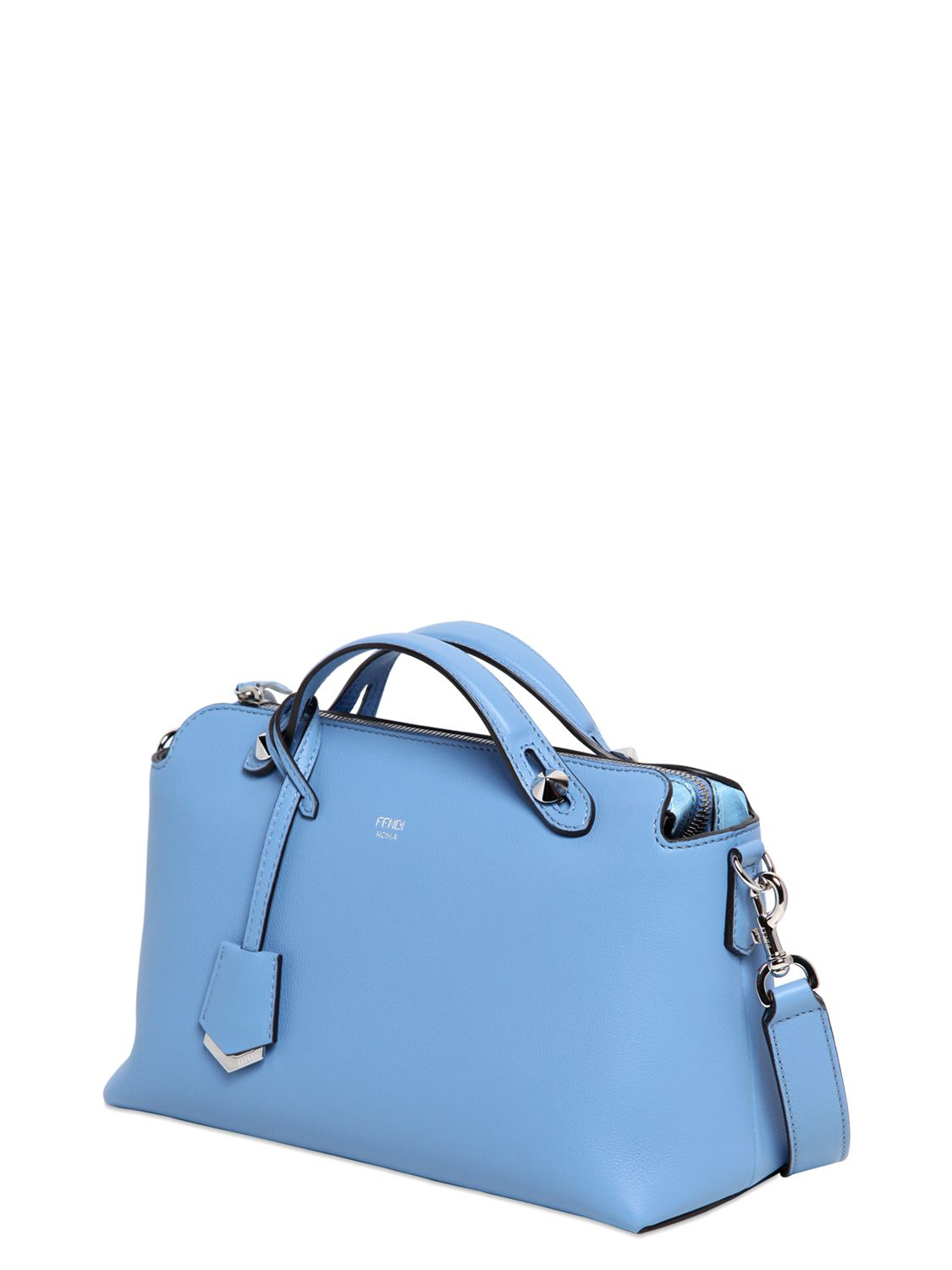 1489efc63735 ... get lyst fendi small by the way grained leather bag in blue 24ee3 3afaa