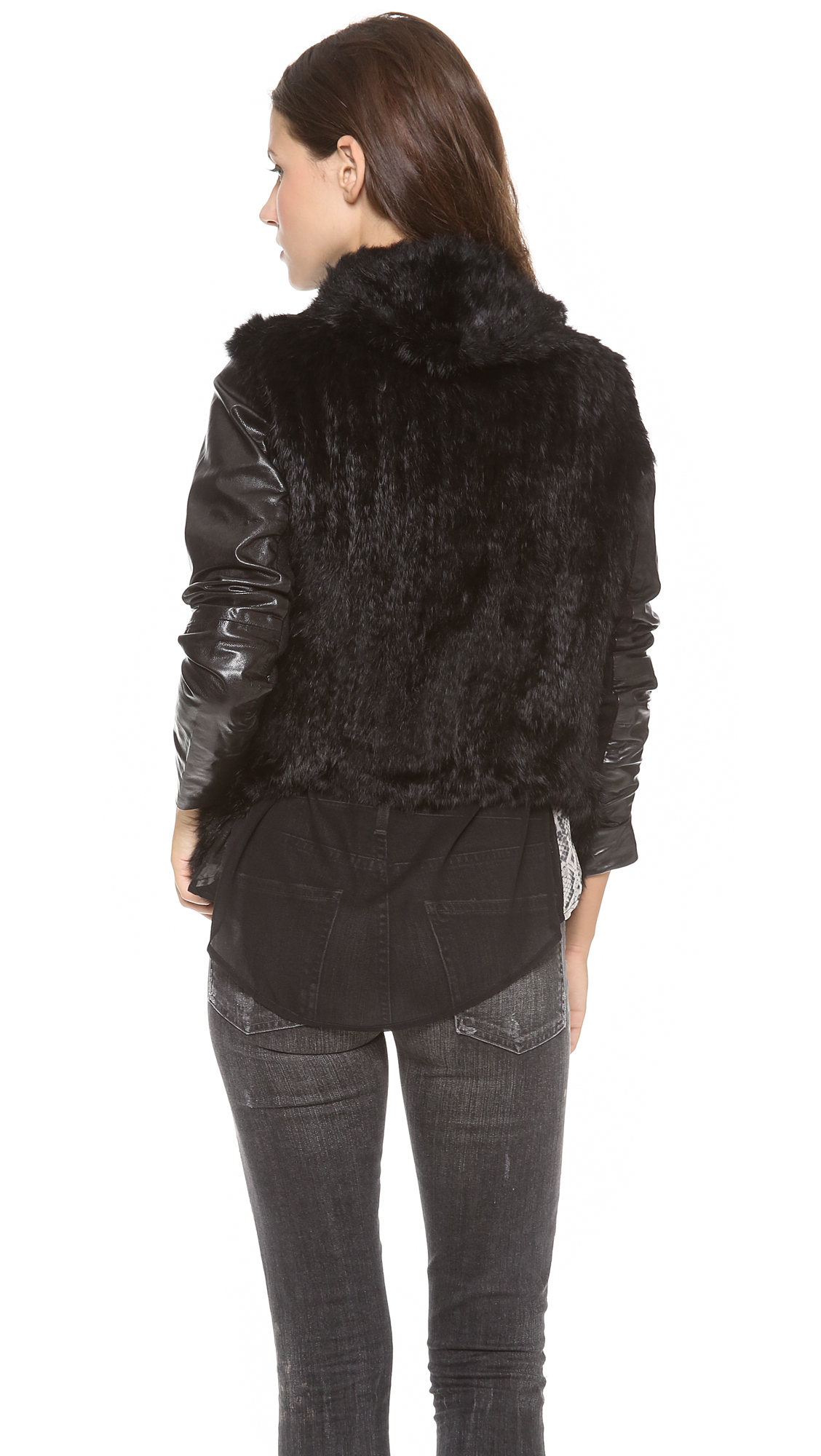Lyst June Knit Fur Jacket With Leather Sleeves In Black