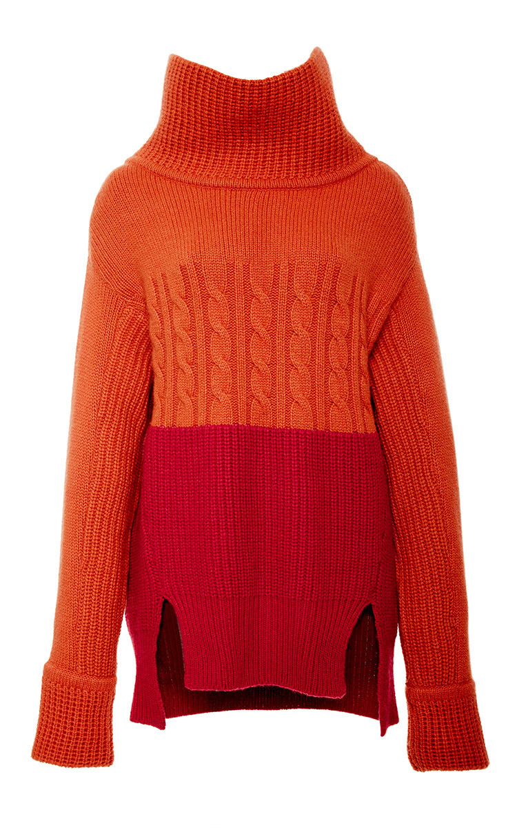 Prabal gurung Color Block Turtleneck Sweater in Red | Lyst