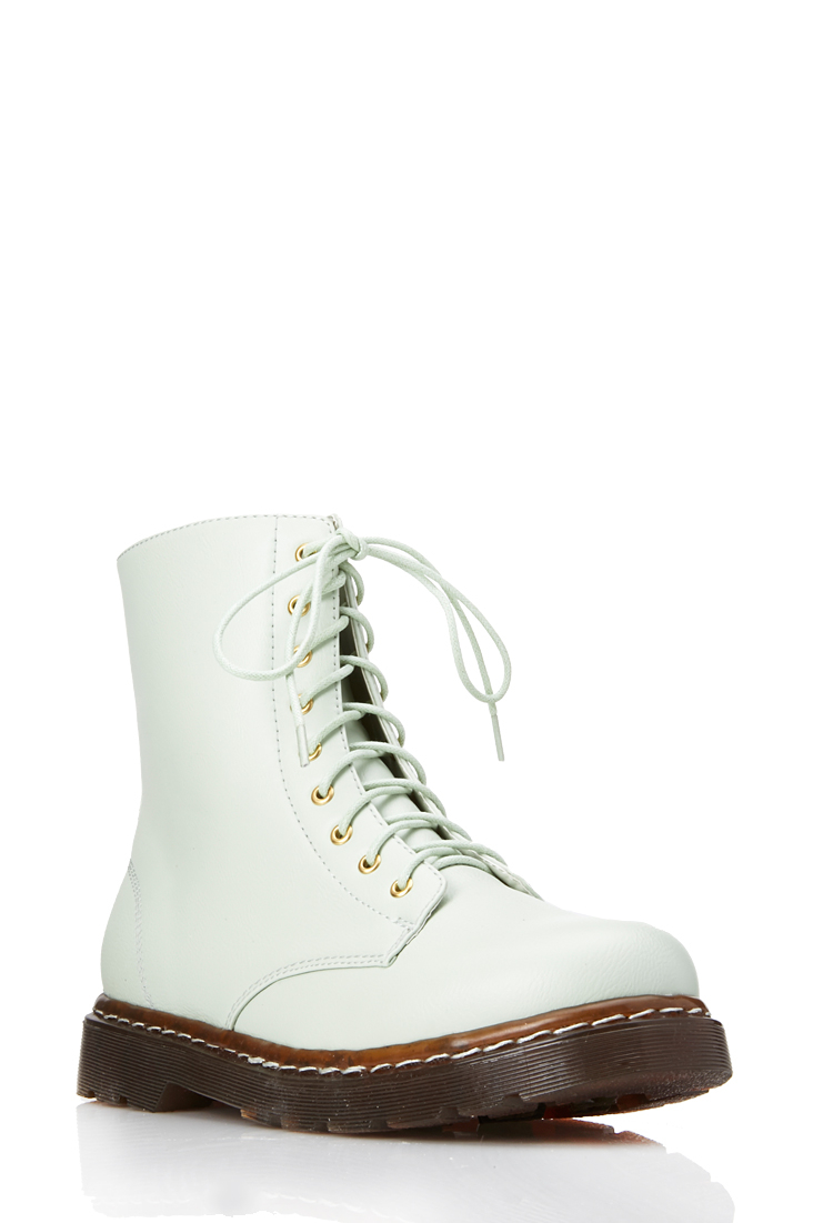Forever 21 Sleek Combat Boots in Green | Lyst