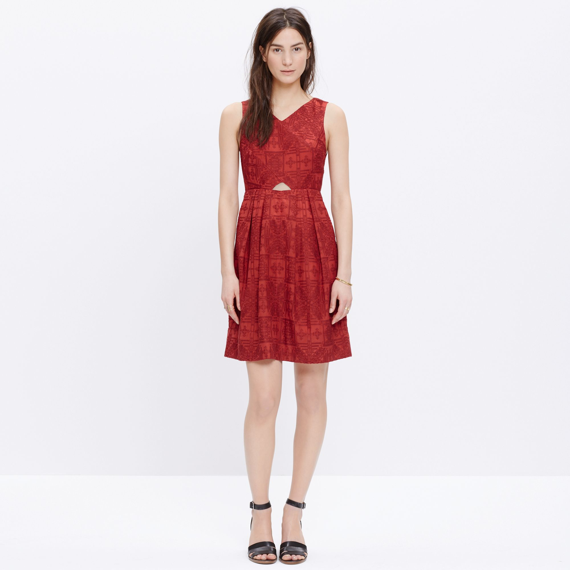 Madewell Embroidered Cutout Sundress In Red