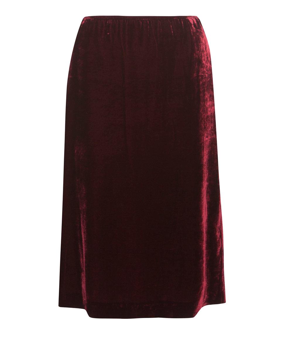 masscob moulin gathered velvet midi skirt in lyst