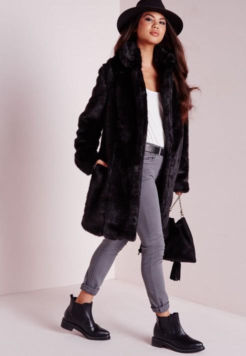 Missguided Longline Faux Fur Coat Black in Black   Lyst