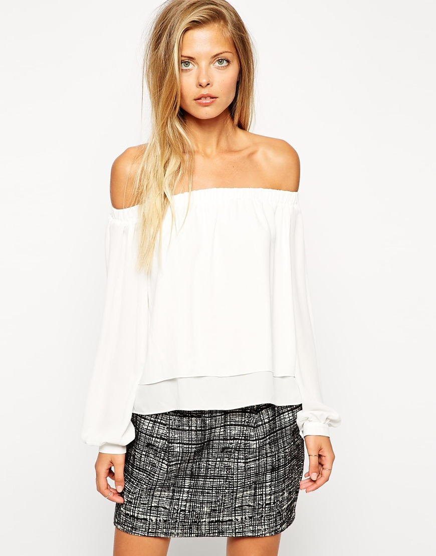8306bdb717744 Lyst - ASOS Woven Off The Shoulder Top in White