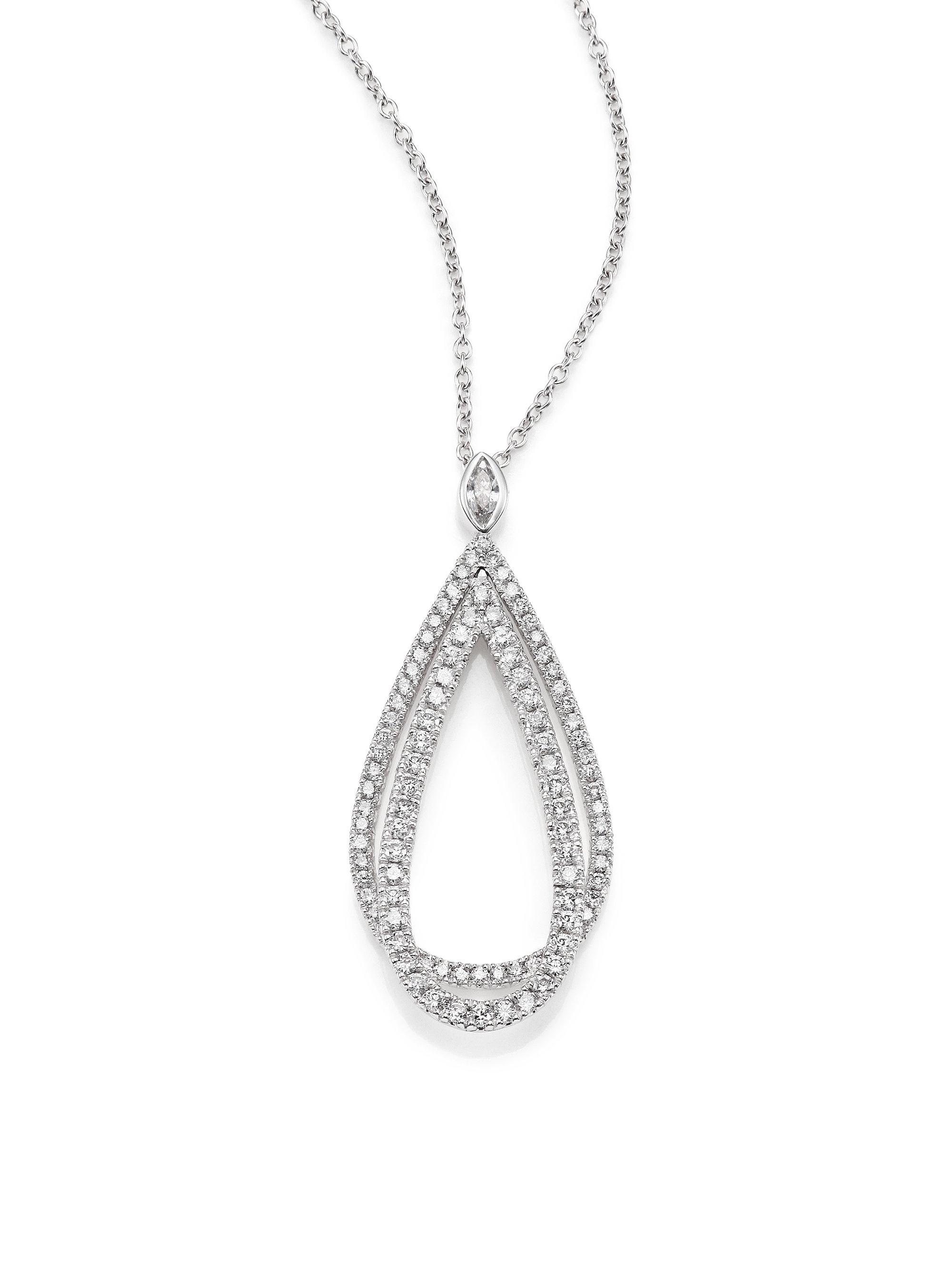 Lyst kwiat echo diamond 18k white gold teardrop pendant necklace gallery aloadofball Images