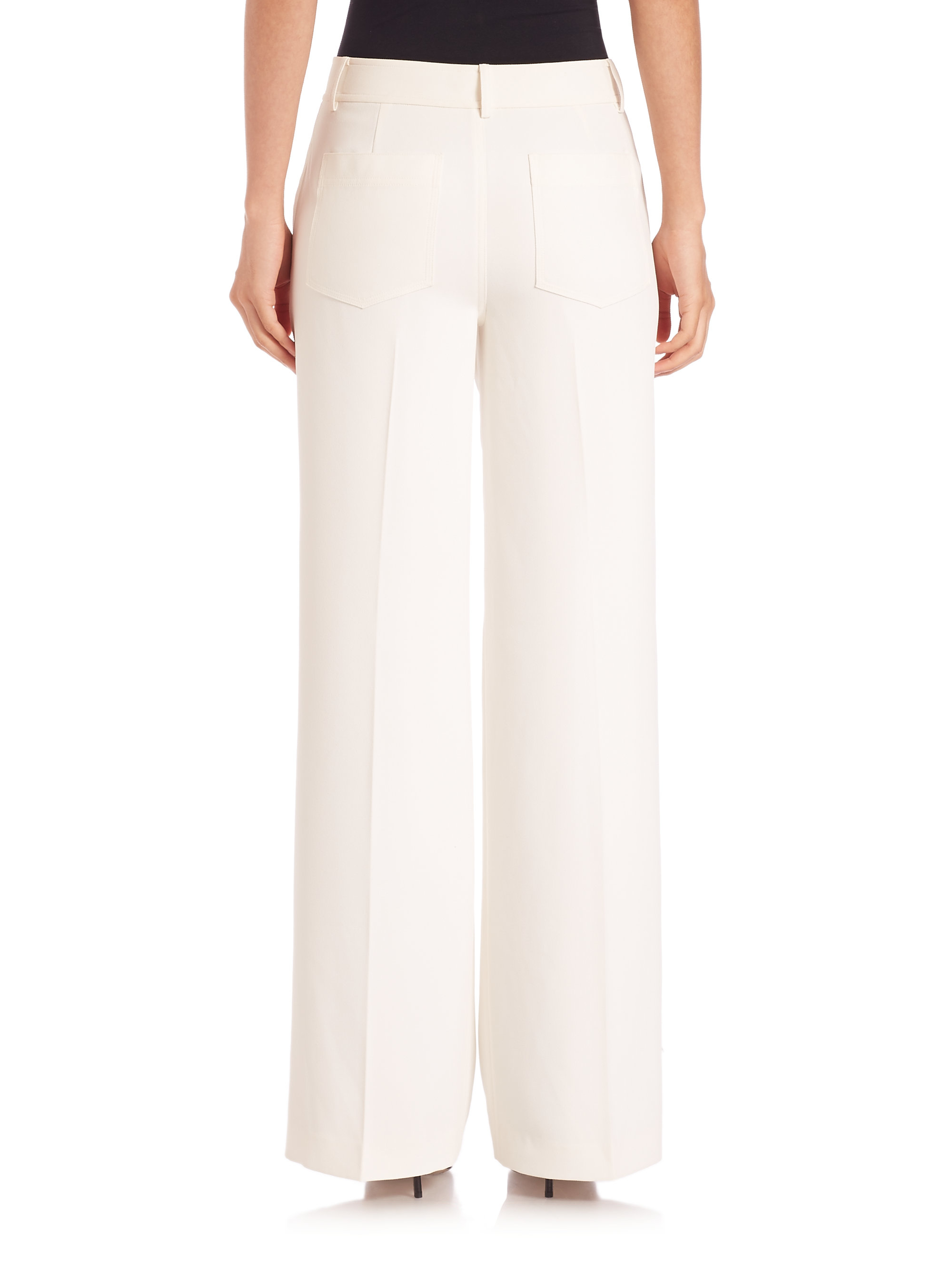 T by alexander wang Polyester Crepe Wide Leg Pants in Natural | Lyst