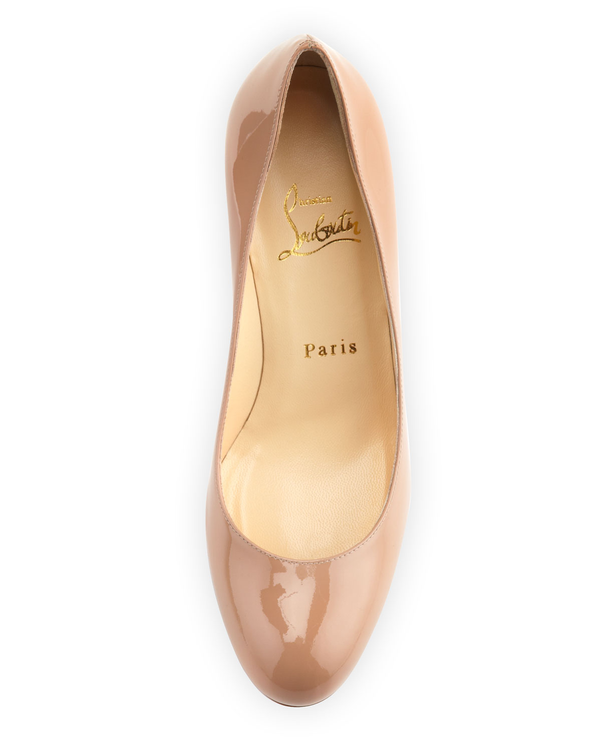 Christian louboutin Simple Patent Red Sole Pump Nude in Beige ...