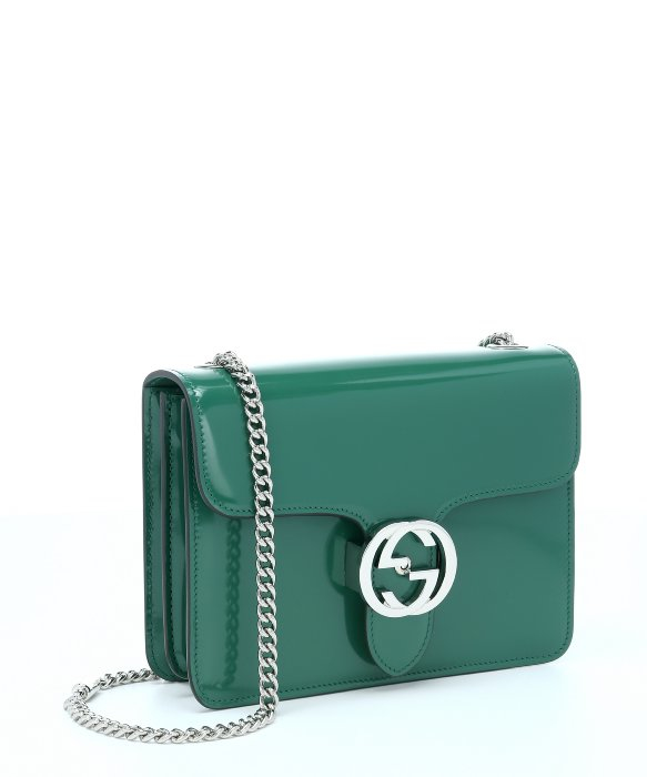 turtle bag with stick gucci turtle green leather logo chain shoulder bag in green lyst