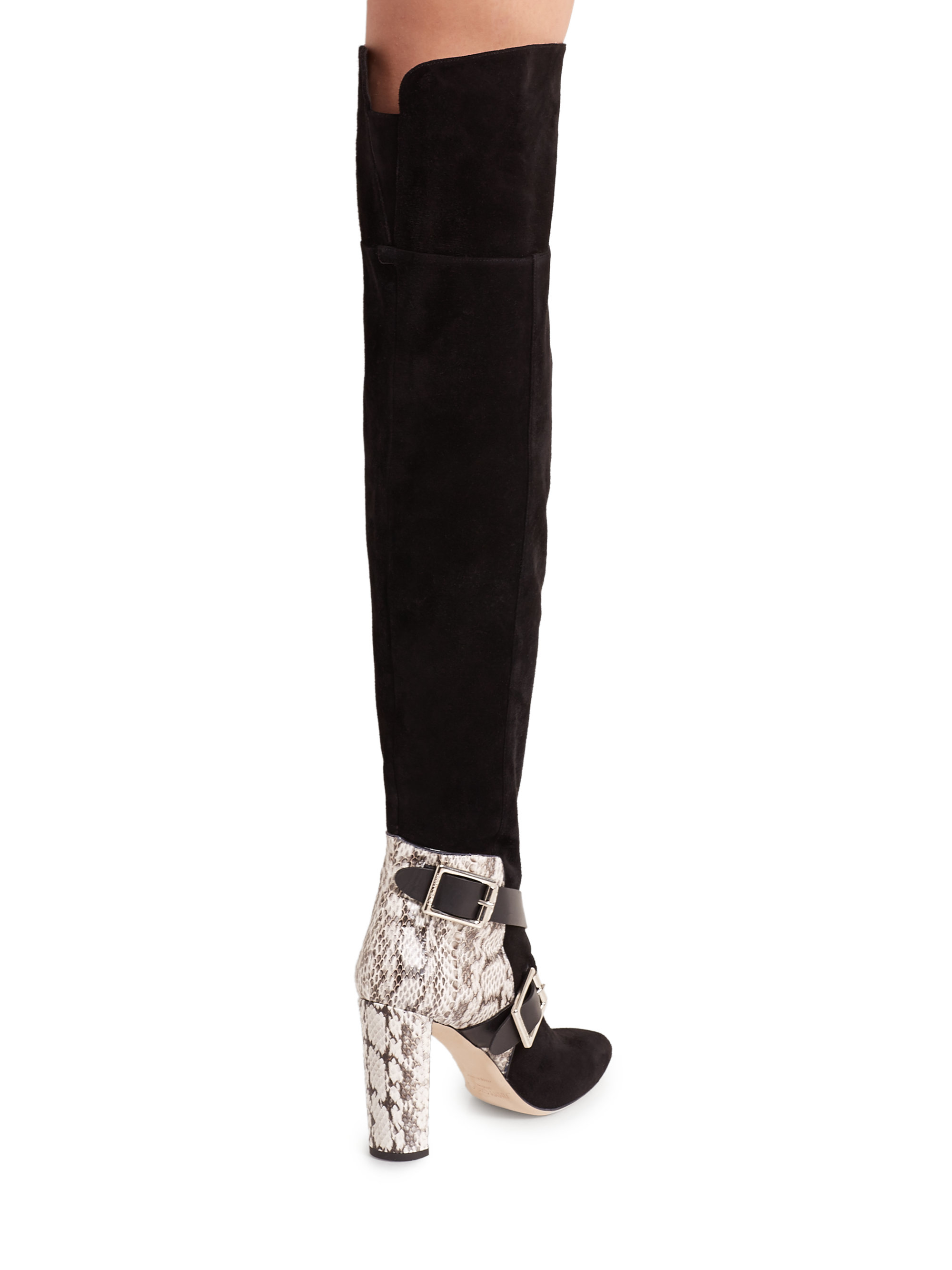 a8a3bb52e1 Jimmy Choo Doma Leather & Snakeskin Over-the-knee Boots in Black - Lyst