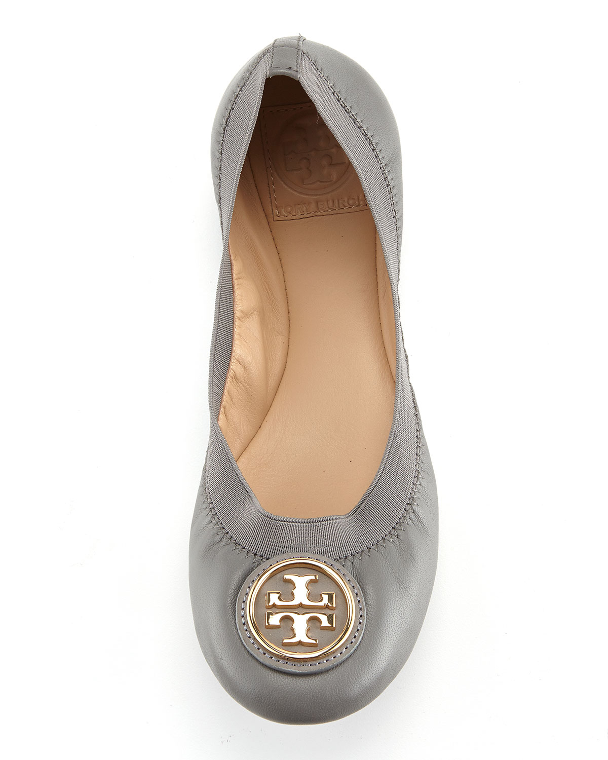 e8e68a063f18 Lyst - Tory Burch Caroline Leather Ballerina Flat in Gray