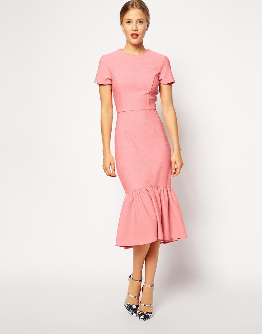 bd4df87123 Lyst asos pencil dress with peplum hem in texture in pink jpg 870x1110 Asos  pink dress