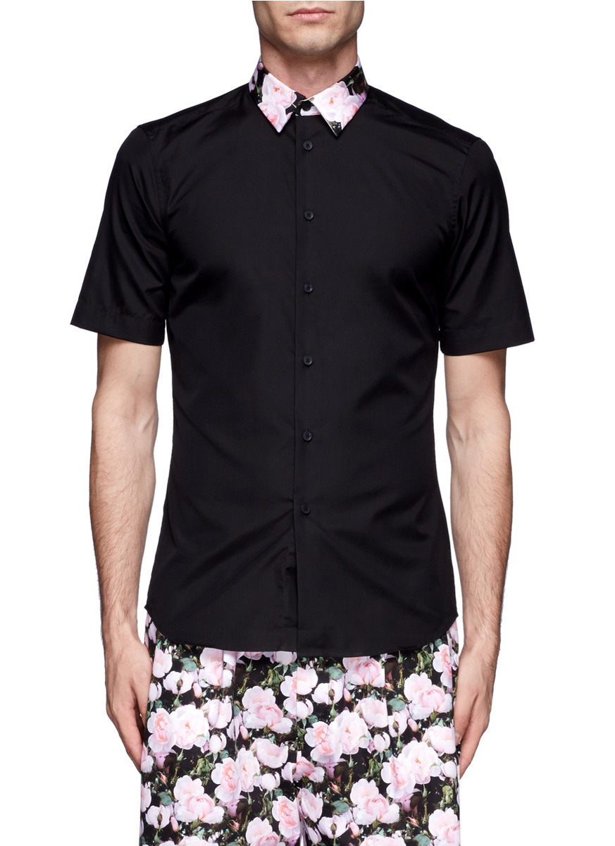 Givenchy Floral Collar Short Sleeve Cotton Shirt In Black