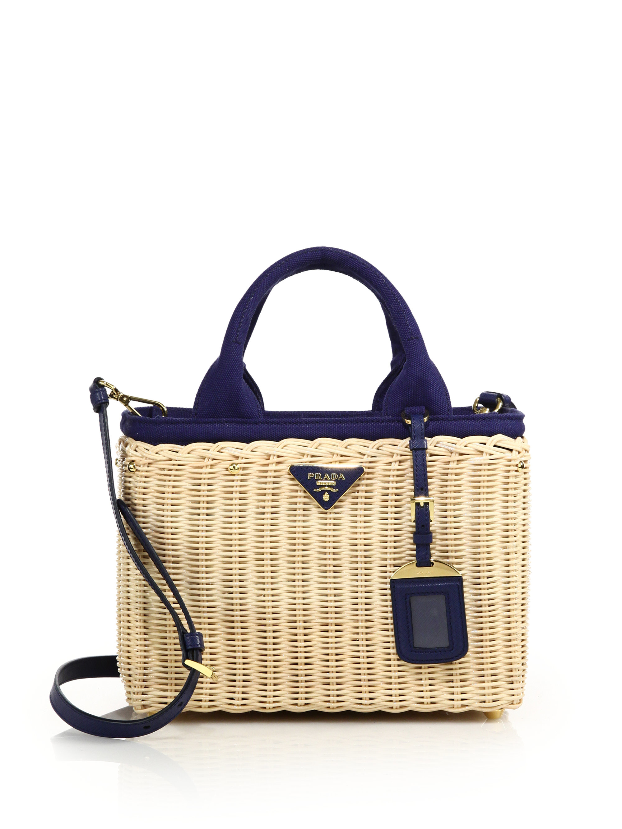 5b005b8c4846 Lyst - Prada Wicker   Canvas Tote in Blue