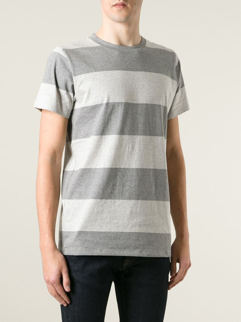 A p c wide stripe t shirt in gray for men lyst for Grey striped t shirt
