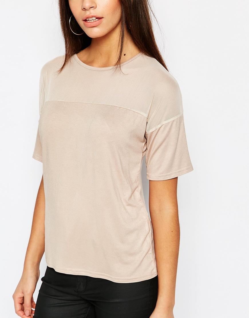 0fe7a6f40fd Daisy Street Sheer Mesh Insert T-shirt - Beige in Natural - Lyst