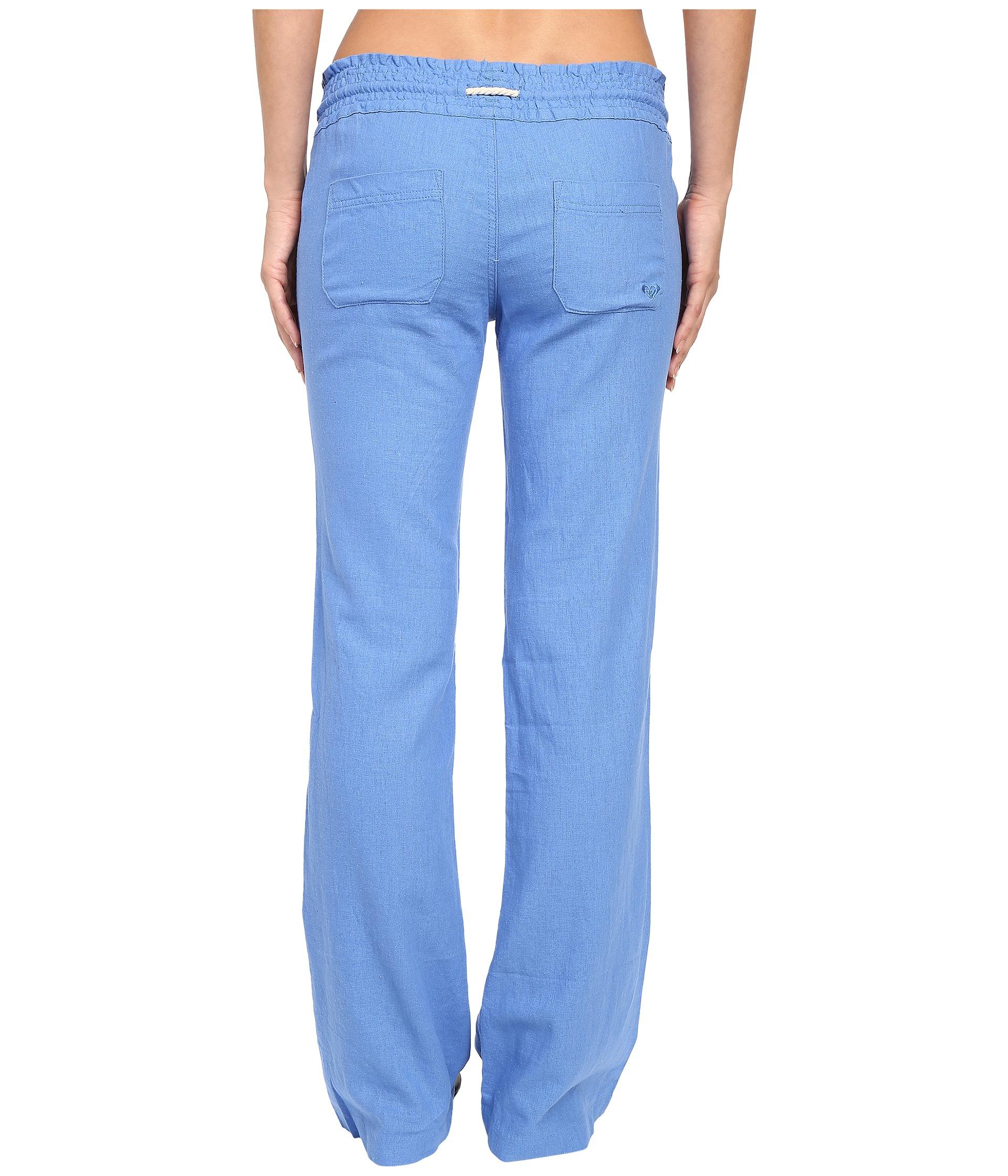 roxy oceanside pants in blue lyst